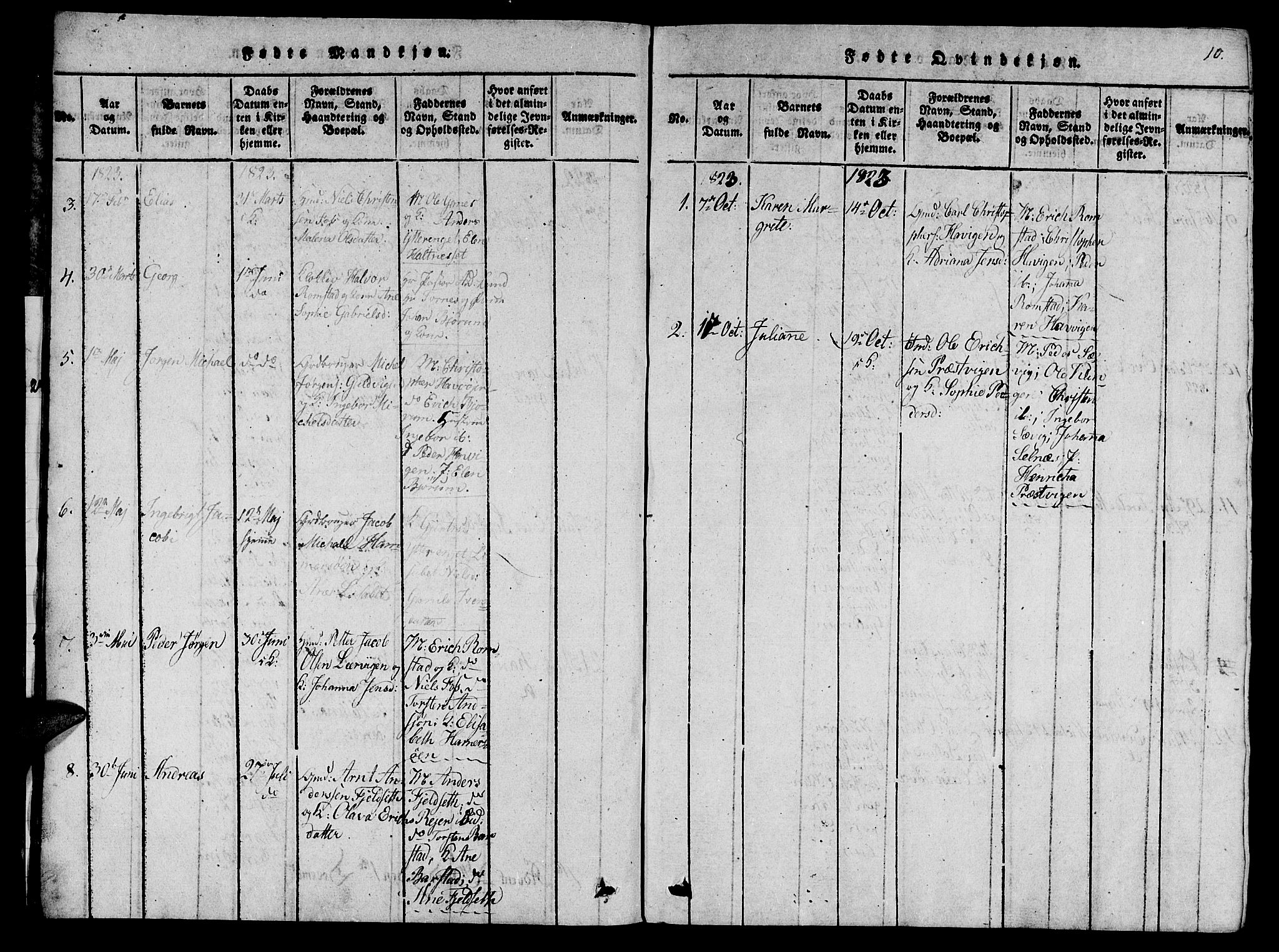SAT, Ministerialprotokoller, klokkerbøker og fødselsregistre - Nord-Trøndelag, 770/L0588: Ministerialbok nr. 770A02, 1819-1823, s. 10