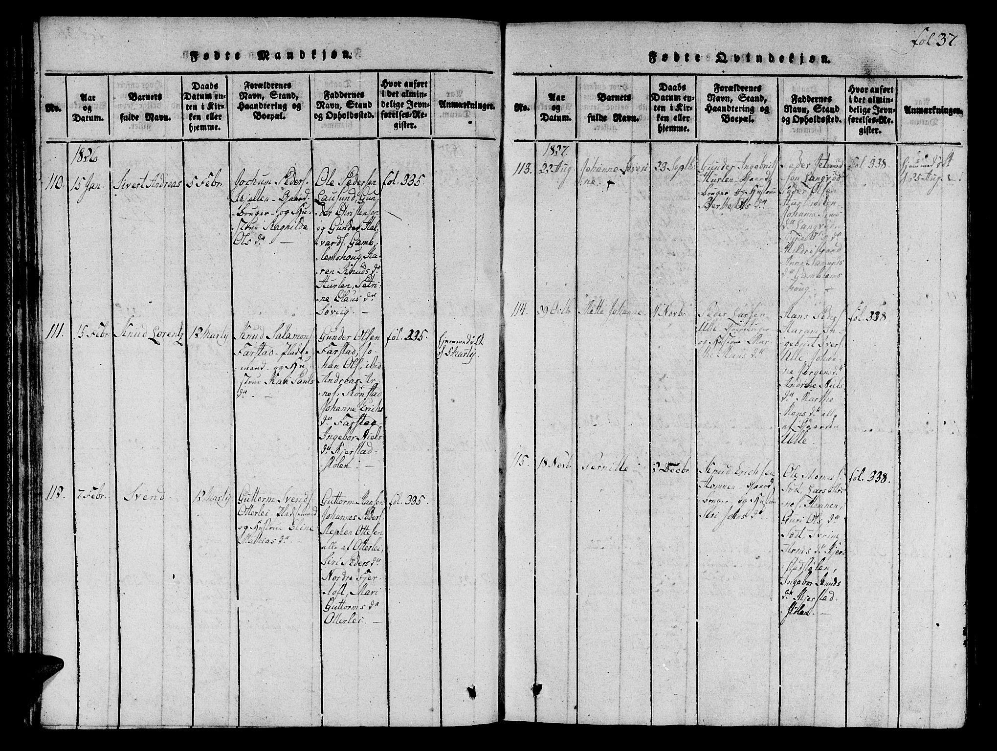 SAT, Ministerialprotokoller, klokkerbøker og fødselsregistre - Møre og Romsdal, 536/L0495: Ministerialbok nr. 536A04, 1818-1847, s. 37