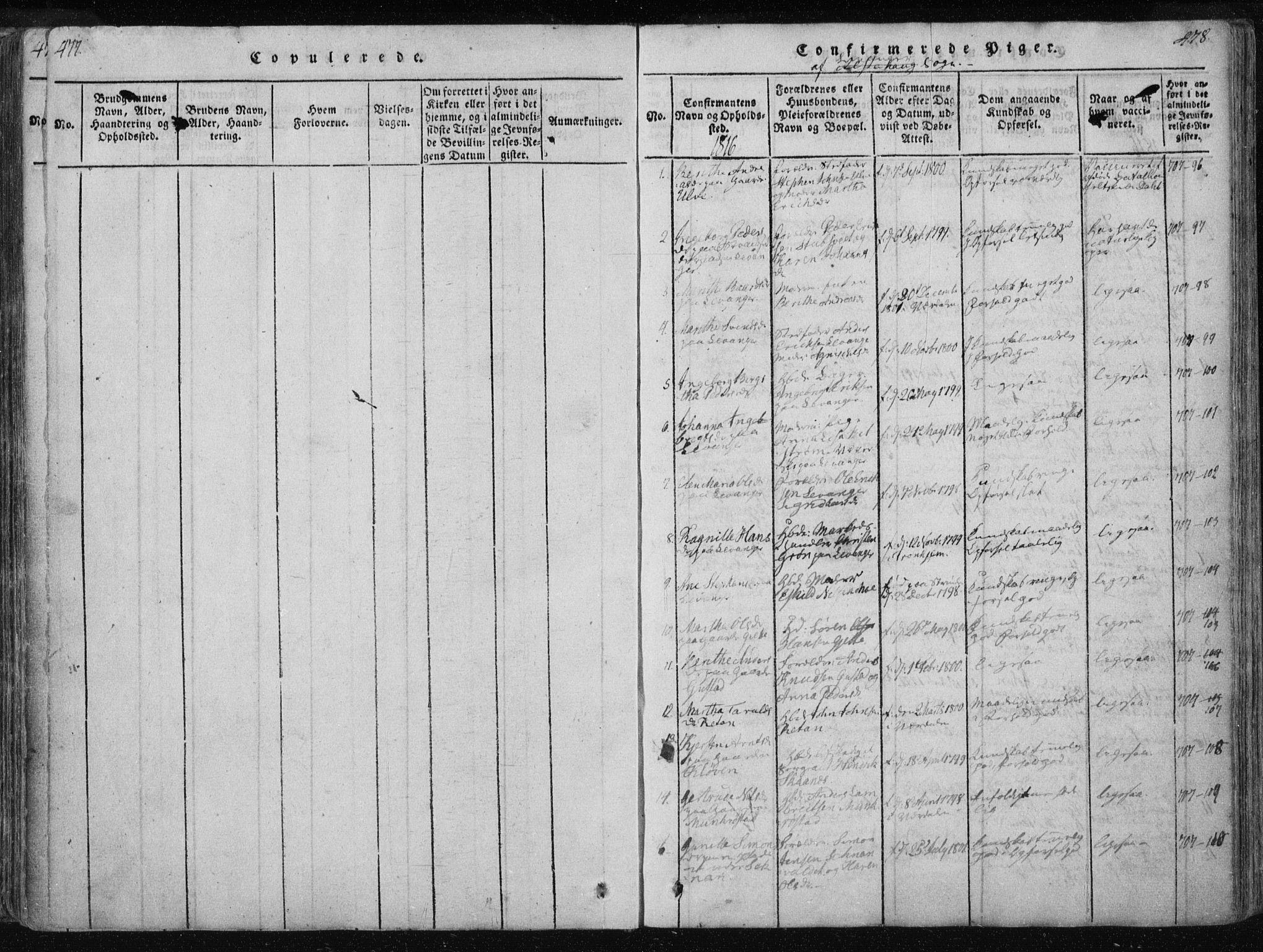 SAT, Ministerialprotokoller, klokkerbøker og fødselsregistre - Nord-Trøndelag, 717/L0148: Ministerialbok nr. 717A04 /2, 1816-1825, s. 477-478