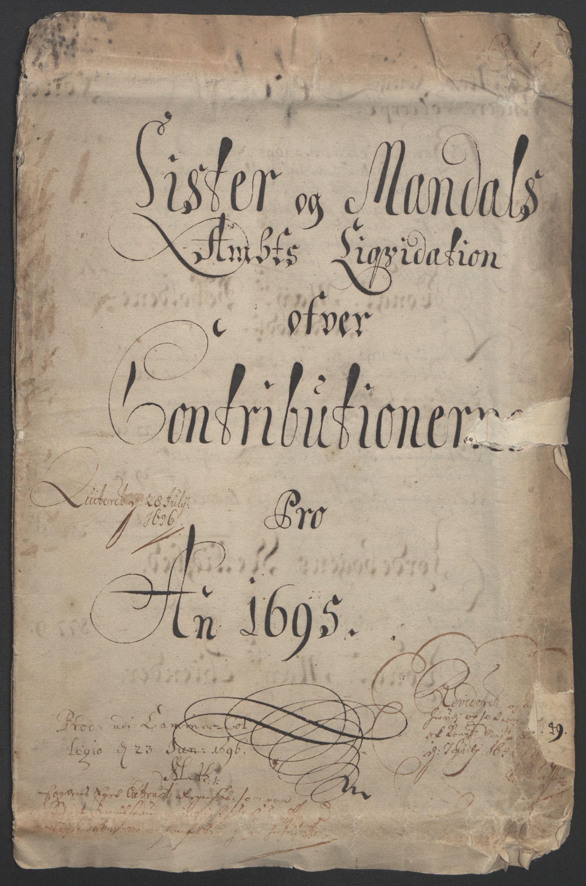 RA, Rentekammeret inntil 1814, Reviderte regnskaper, Fogderegnskap, R43/L2545: Fogderegnskap Lista og Mandal, 1694-1695, s. 198