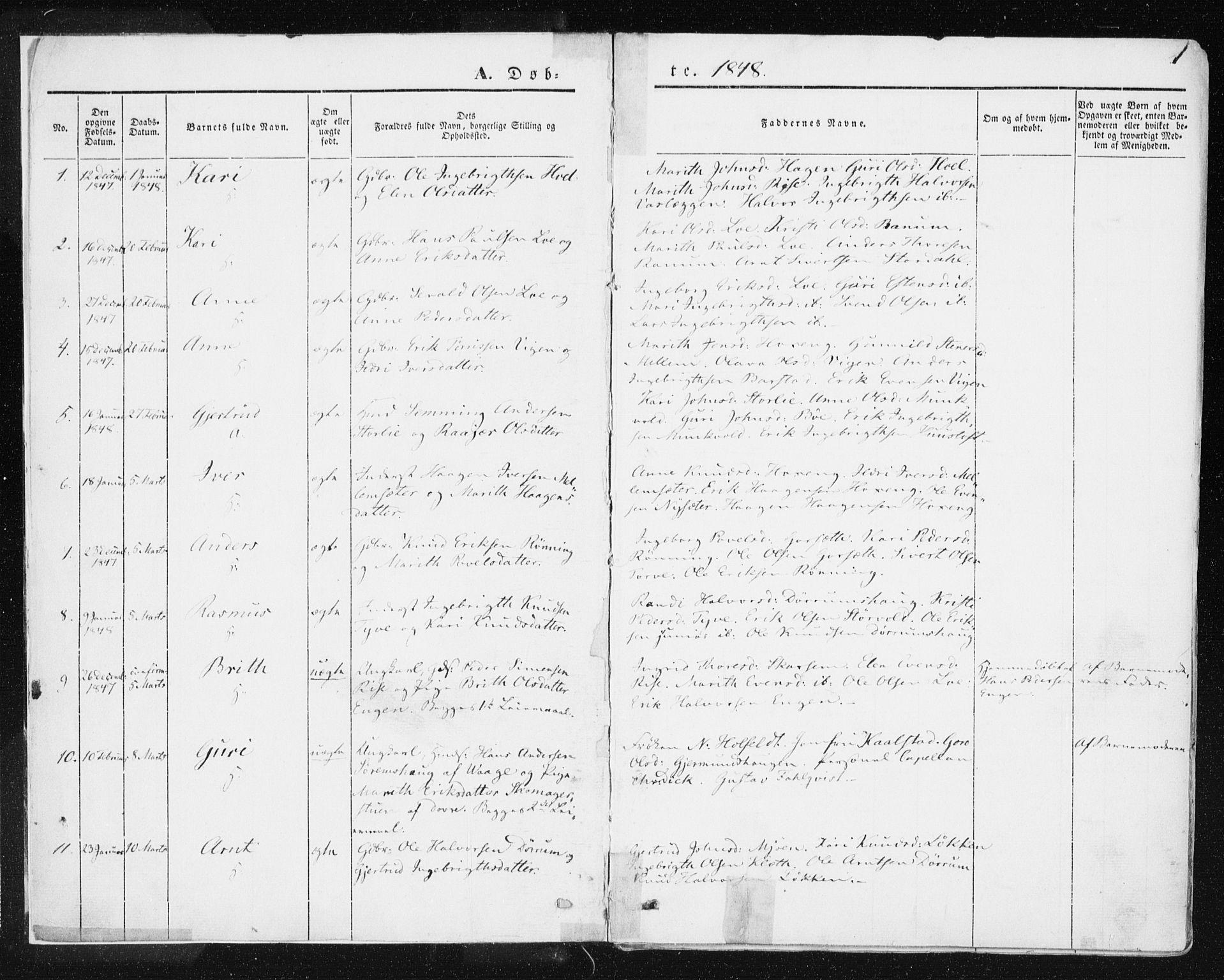 SAT, Ministerialprotokoller, klokkerbøker og fødselsregistre - Sør-Trøndelag, 678/L0899: Ministerialbok nr. 678A08, 1848-1872, s. 1