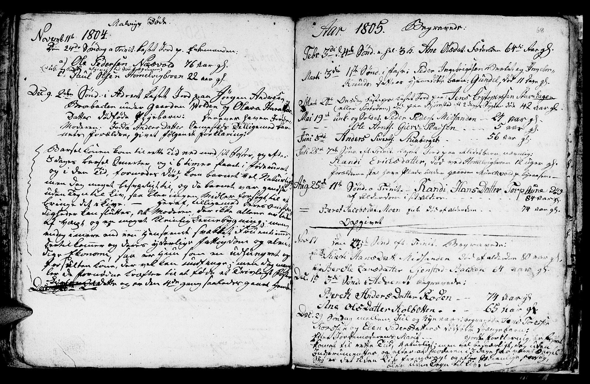 SAT, Ministerialprotokoller, klokkerbøker og fødselsregistre - Sør-Trøndelag, 616/L0419: Klokkerbok nr. 616C02, 1797-1816, s. 68