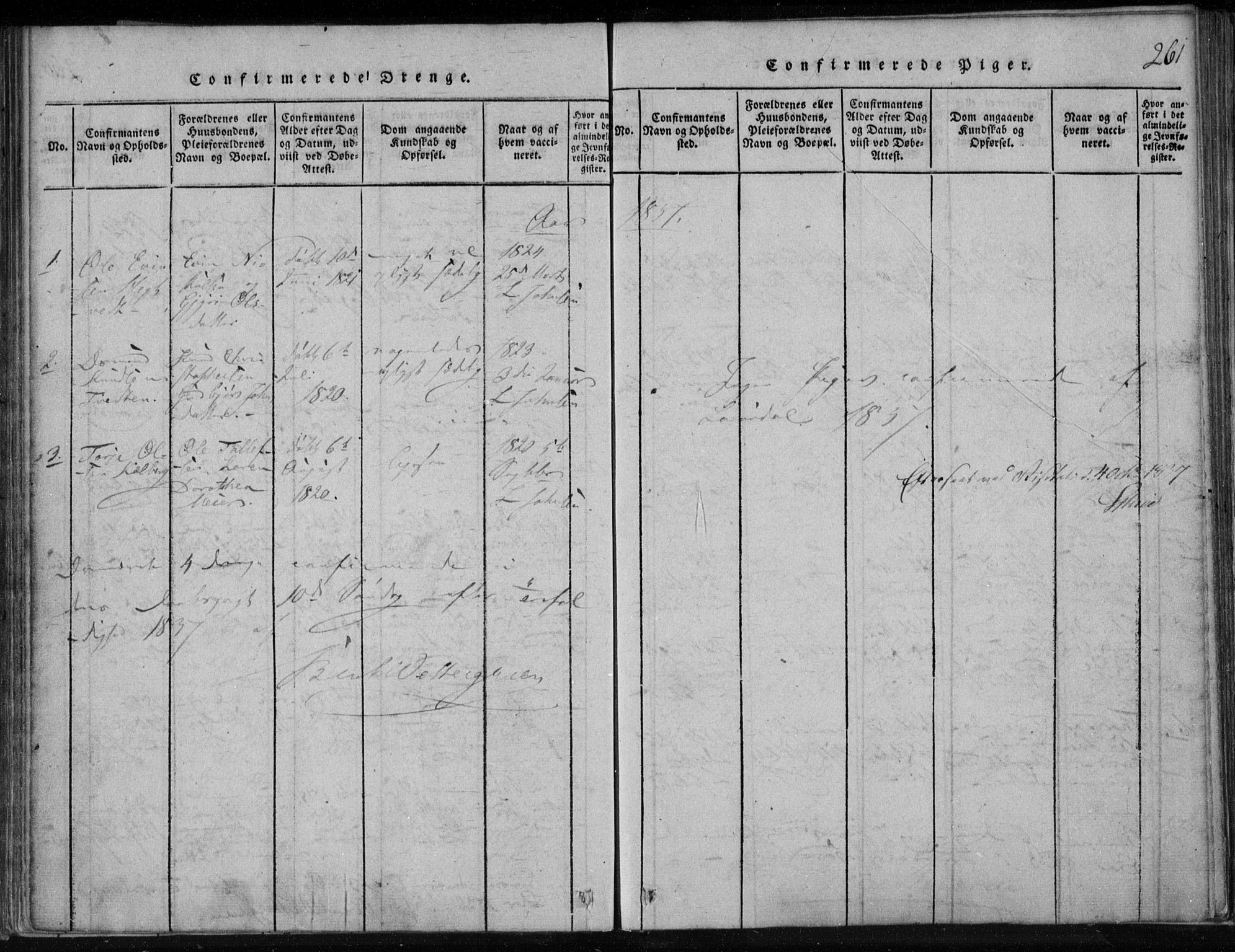 SAKO, Lårdal kirkebøker, F/Fa/L0005: Ministerialbok nr. I 5, 1815-1860, s. 261