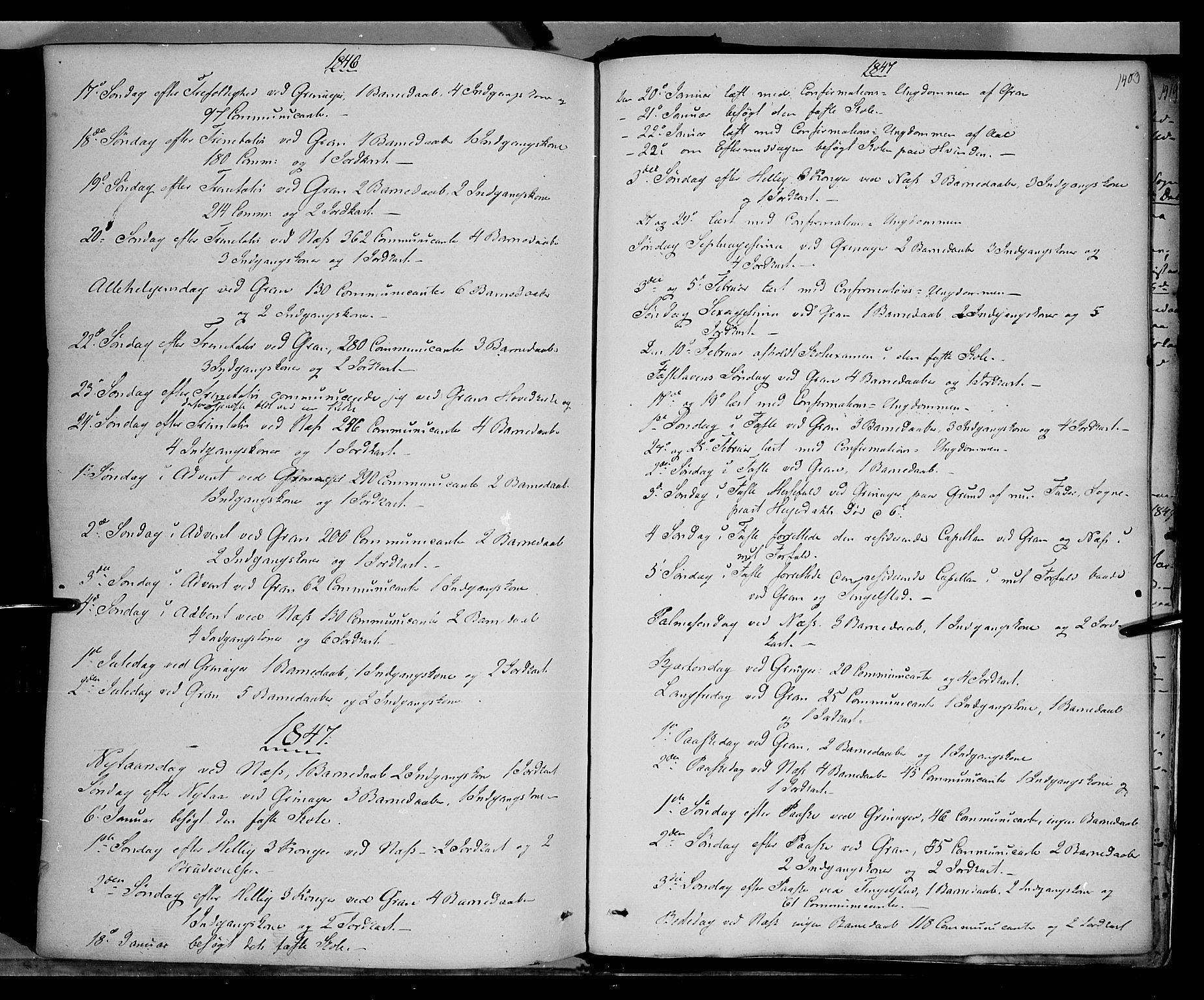 SAH, Gran prestekontor, Ministerialbok nr. 11, 1842-1856, s. 1402-1403