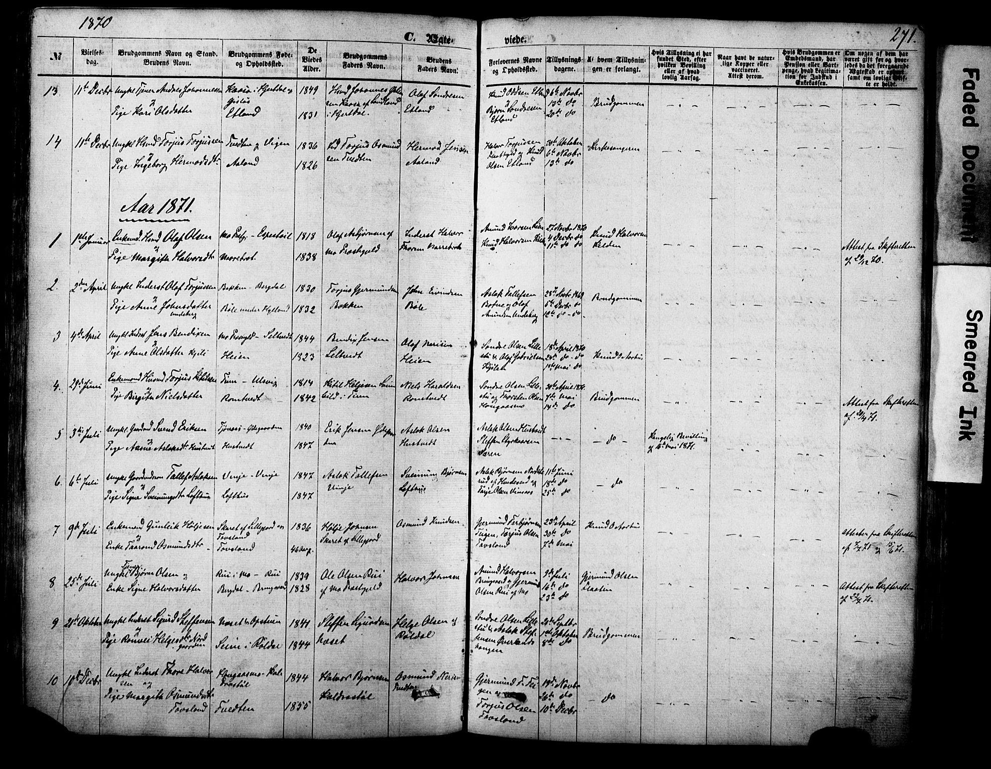 SAKO, Vinje kirkebøker, F/Fa/L0005: Ministerialbok nr. I 5, 1870-1886, s. 271