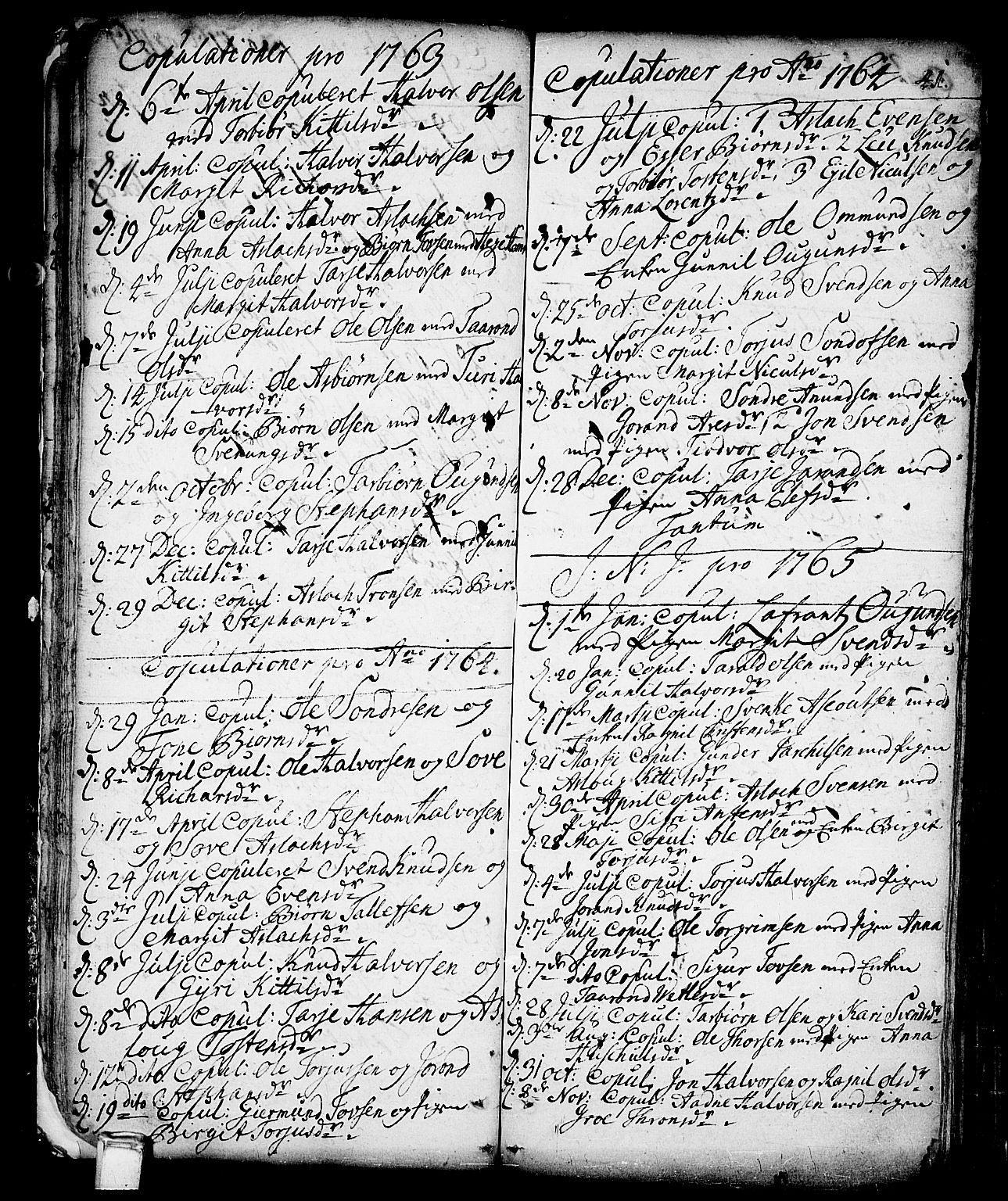 SAKO, Vinje kirkebøker, F/Fa/L0001: Ministerialbok nr. I 1, 1717-1766, s. 41