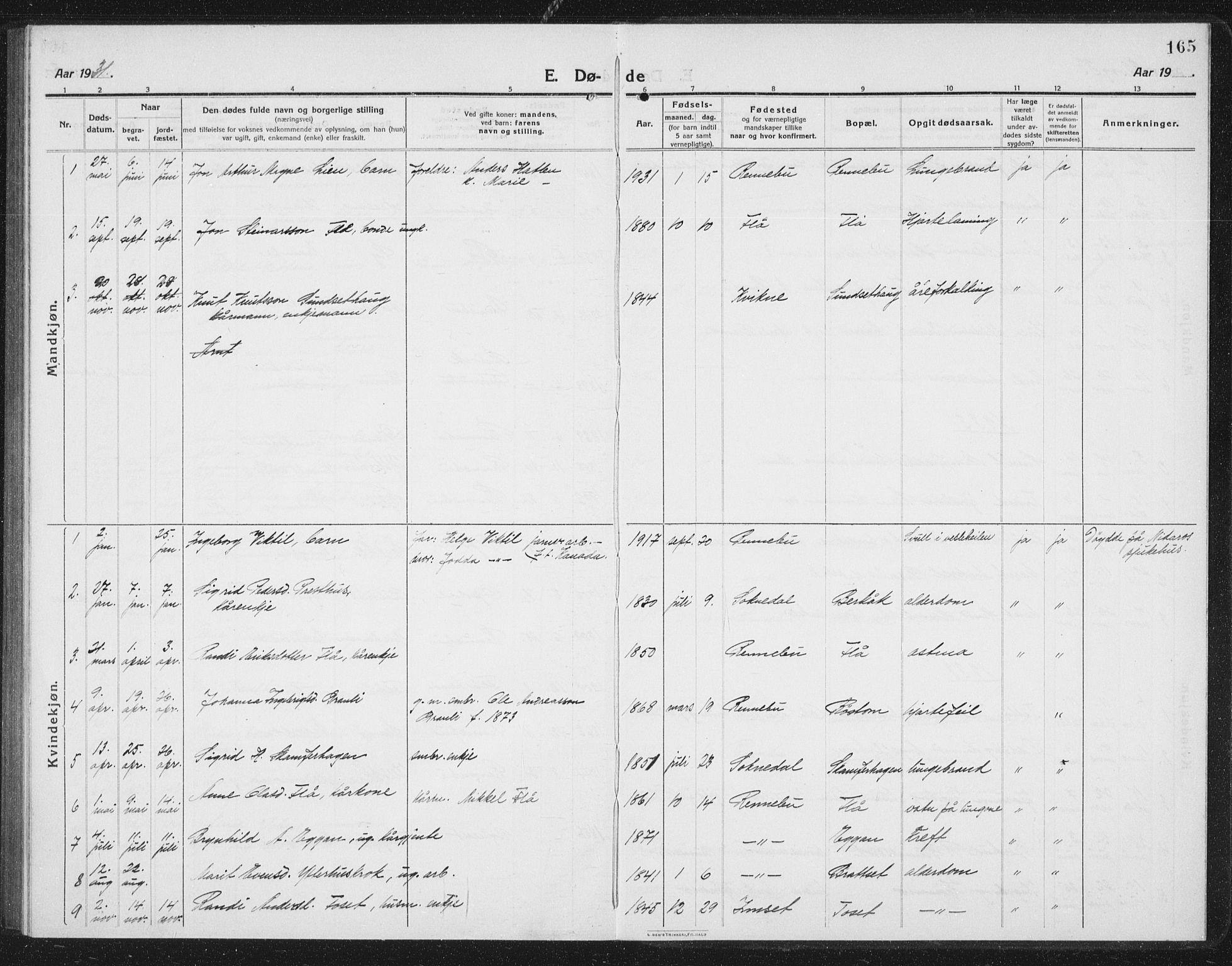 SAT, Ministerialprotokoller, klokkerbøker og fødselsregistre - Sør-Trøndelag, 675/L0888: Klokkerbok nr. 675C01, 1913-1935, s. 165