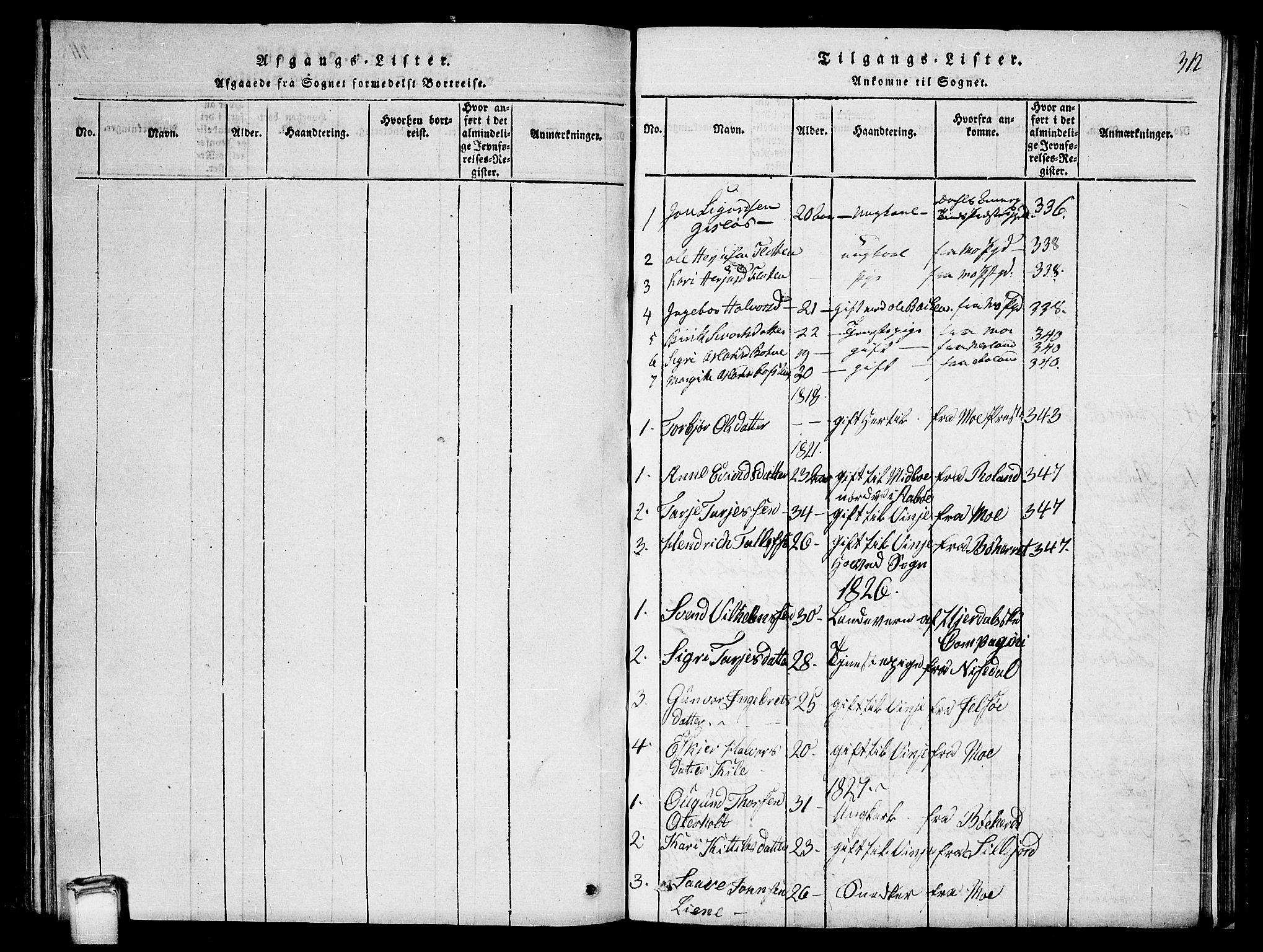 SAKO, Vinje kirkebøker, G/Ga/L0001: Klokkerbok nr. I 1, 1814-1843, s. 312