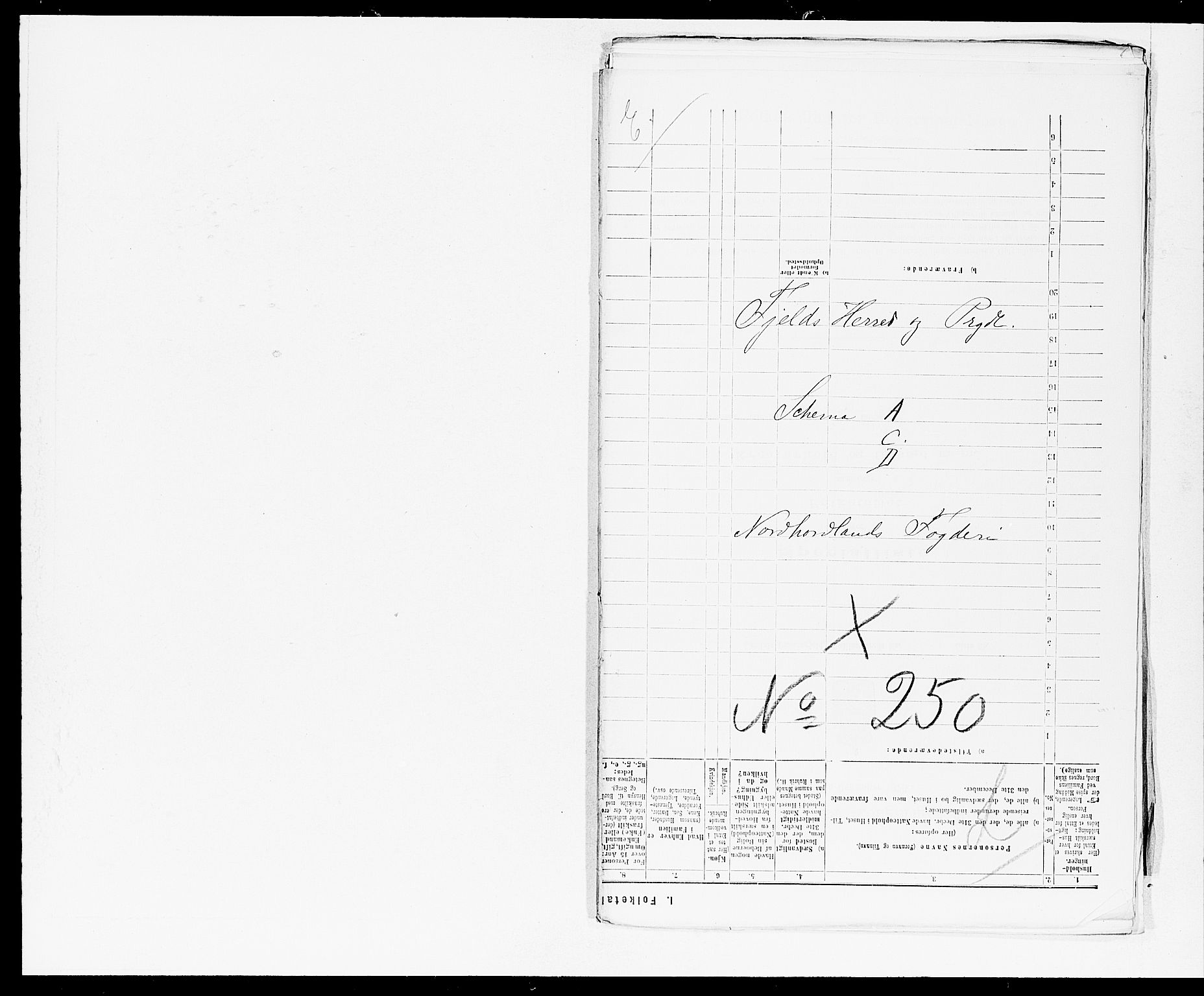 SAB, Folketelling 1875 for 1246P Fjell prestegjeld, 1875, s. 1