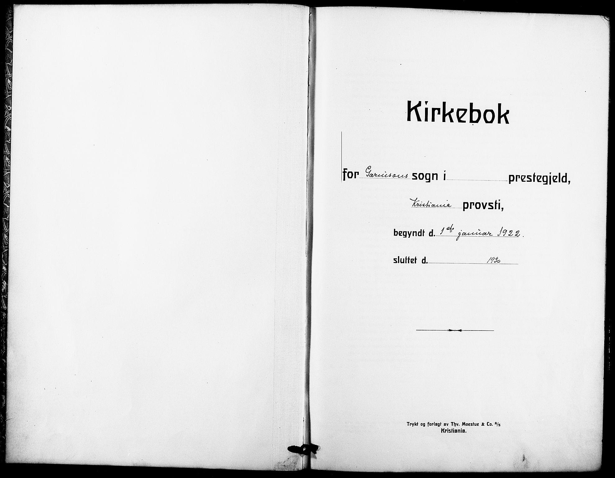 SAO, Garnisonsmenigheten Kirkebøker, F/Fa/L0016: Ministerialbok nr. 16, 1922-1930