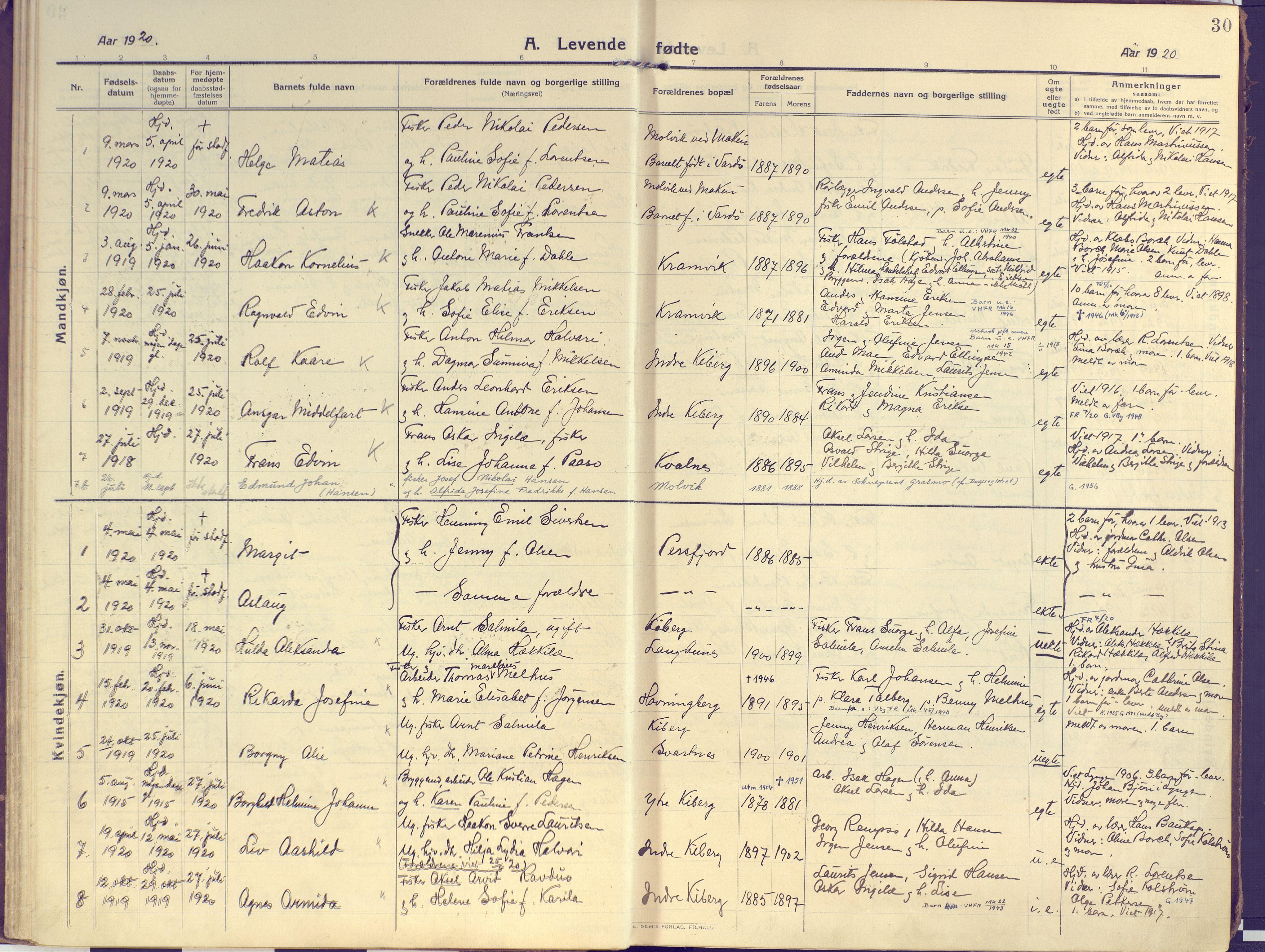 SATØ, Vardø sokneprestkontor, H/Ha/L0013kirke: Ministerialbok nr. 13, 1912-1928, s. 30