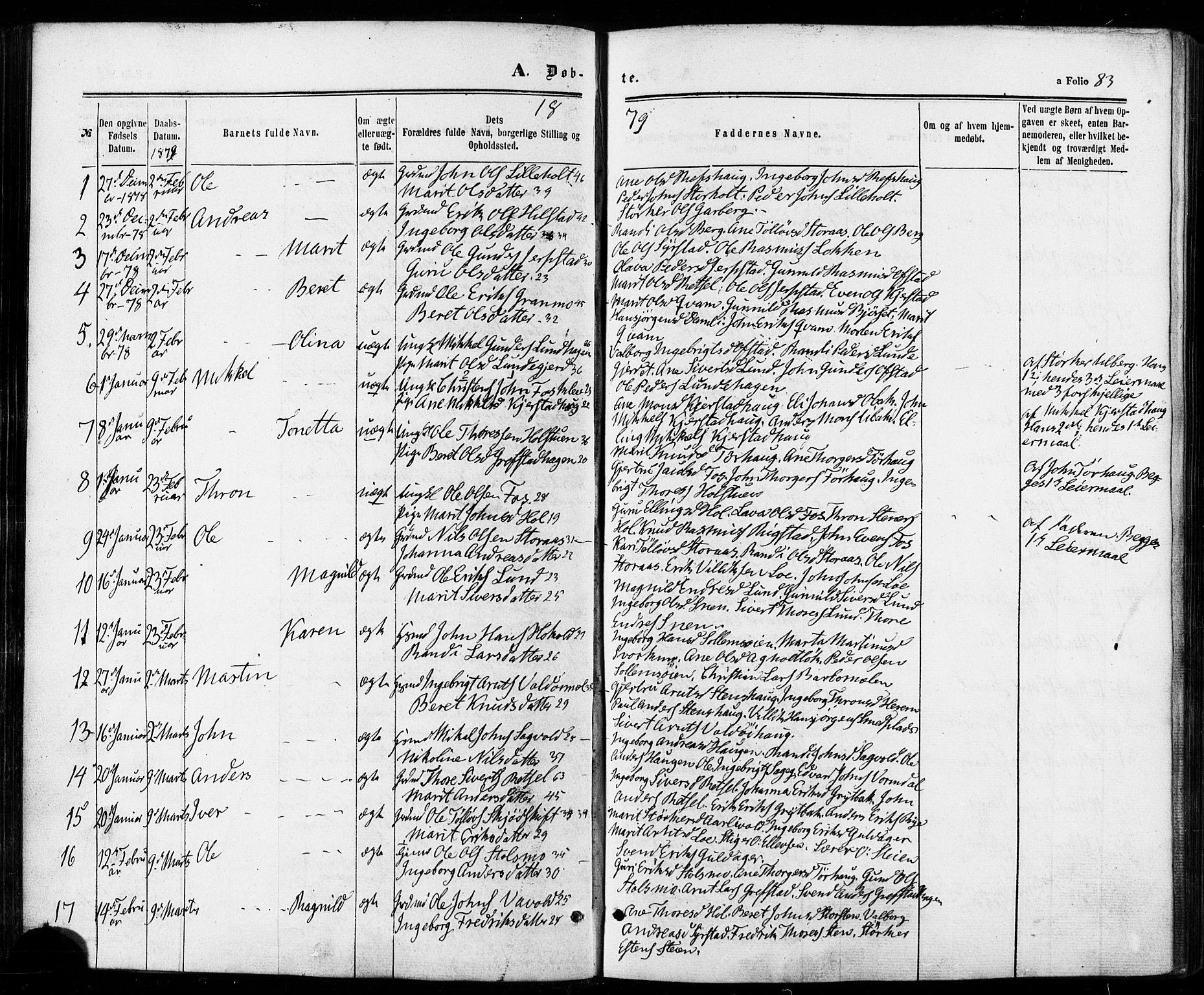 SAT, Ministerialprotokoller, klokkerbøker og fødselsregistre - Sør-Trøndelag, 672/L0856: Ministerialbok nr. 672A08, 1861-1881, s. 83
