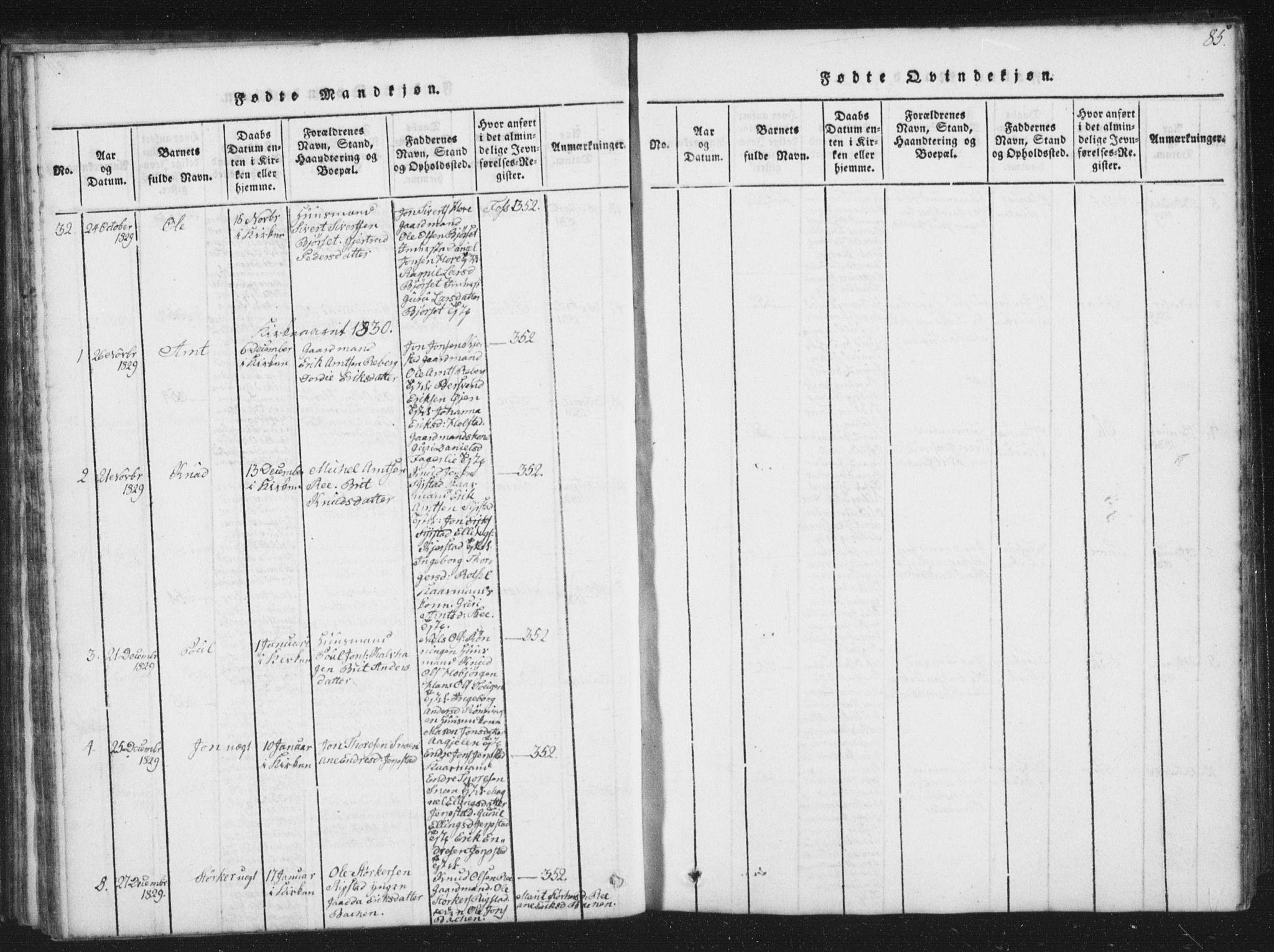 SAT, Ministerialprotokoller, klokkerbøker og fødselsregistre - Sør-Trøndelag, 672/L0862: Klokkerbok nr. 672C01, 1816-1831, s. 85