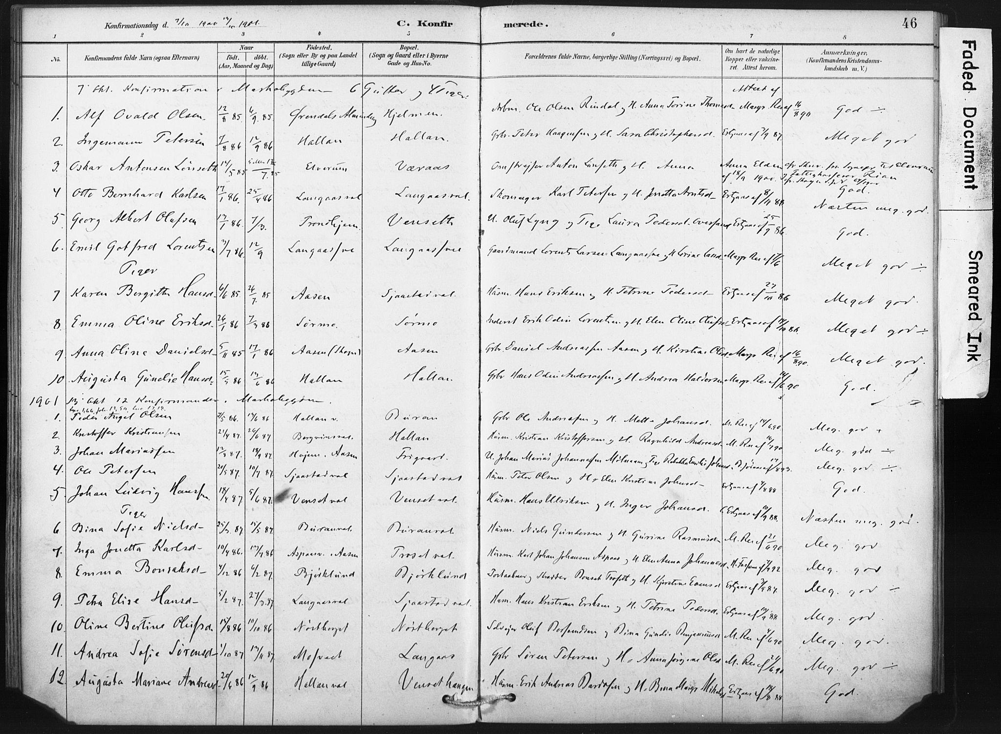 SAT, Ministerialprotokoller, klokkerbøker og fødselsregistre - Nord-Trøndelag, 718/L0175: Ministerialbok nr. 718A01, 1890-1923, s. 46