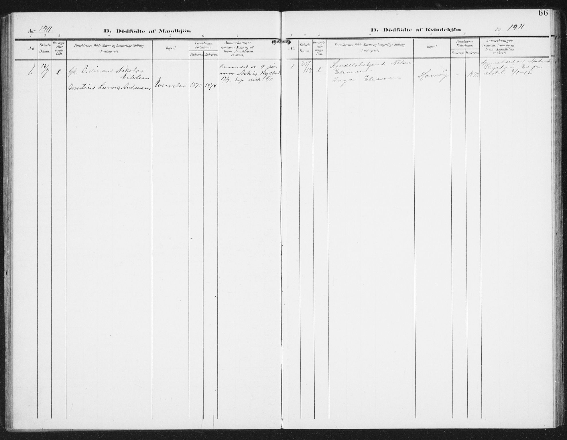 SAT, Ministerialprotokoller, klokkerbøker og fødselsregistre - Nordland, 886/L1221: Ministerialbok nr. 886A03, 1903-1913, s. 66