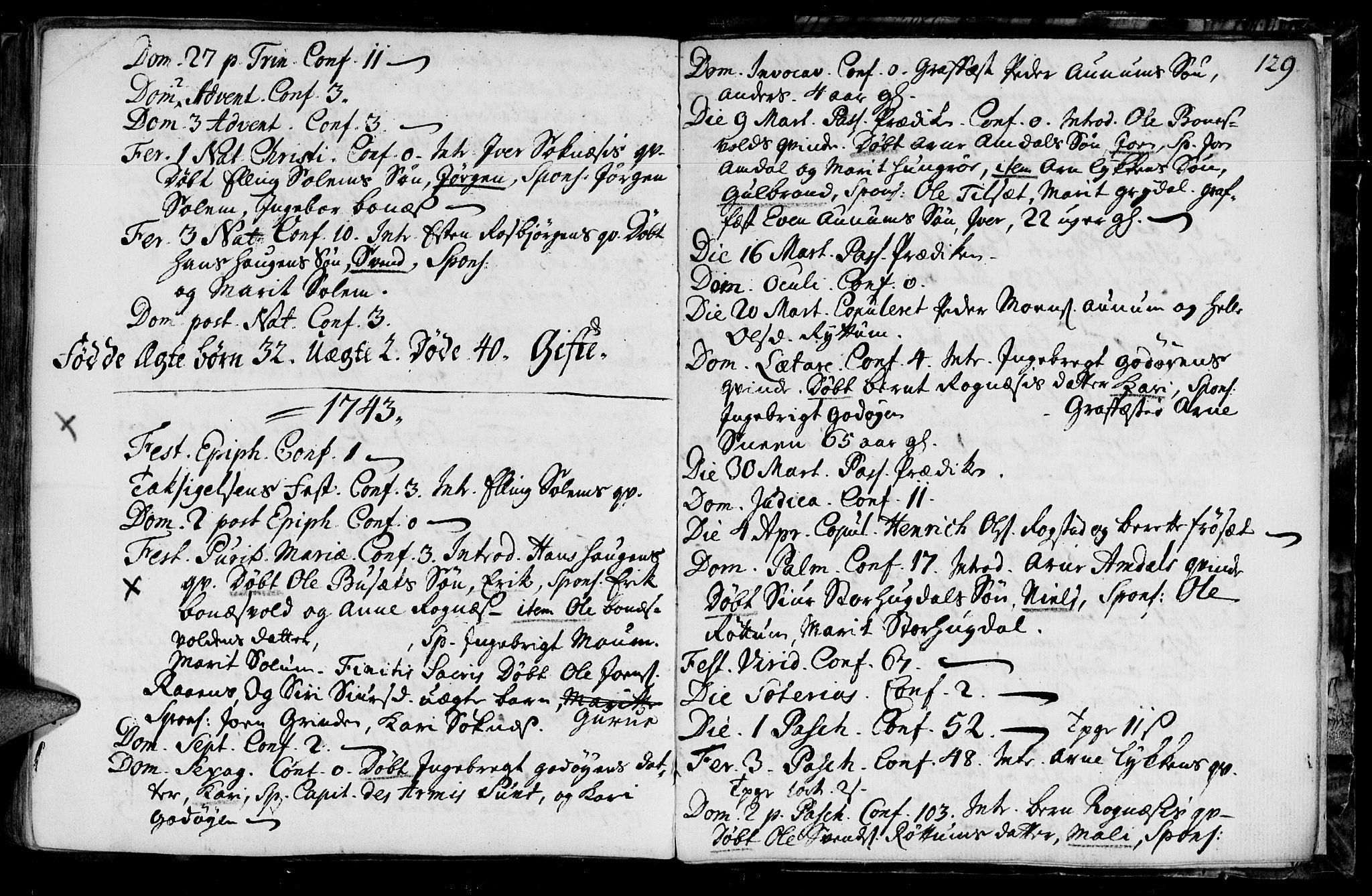 SAT, Ministerialprotokoller, klokkerbøker og fødselsregistre - Sør-Trøndelag, 687/L0990: Ministerialbok nr. 687A01, 1690-1746, s. 129