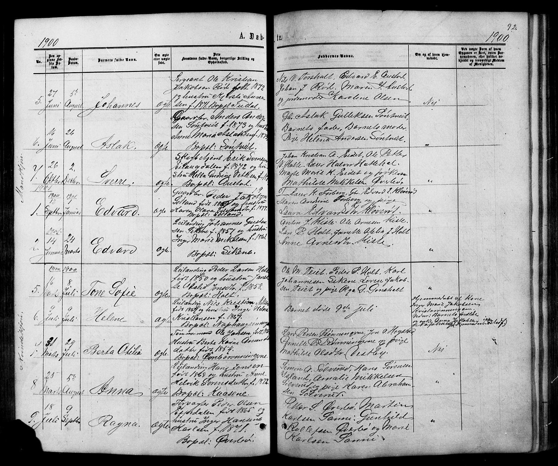 SAKO, Siljan kirkebøker, G/Ga/L0002: Klokkerbok nr. 2, 1864-1908, s. 92
