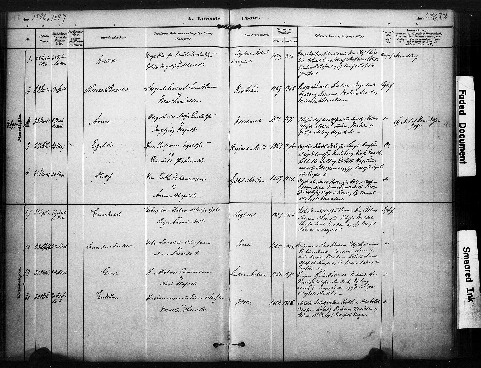 SAKO, Kviteseid kirkebøker, F/Fa/L0008: Ministerialbok nr. I 8, 1882-1903, s. 72