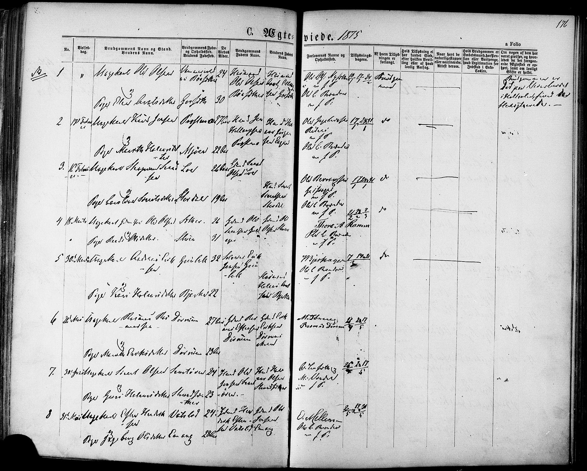 SAT, Ministerialprotokoller, klokkerbøker og fødselsregistre - Sør-Trøndelag, 678/L0900: Ministerialbok nr. 678A09, 1872-1881, s. 176