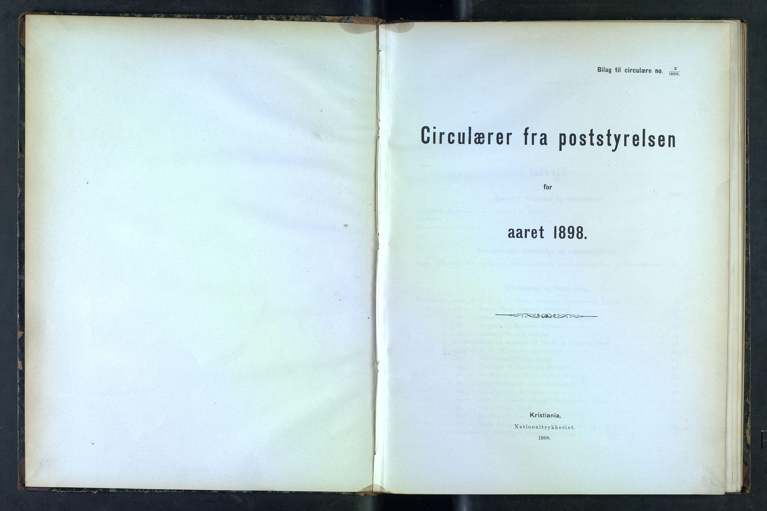 NOPO, Norges Postmuseums bibliotek, -/-: Sirkulærer fra Poststyrelsen, 1898