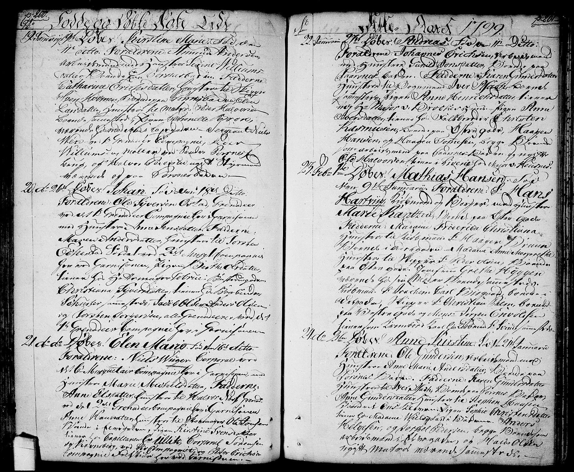 SAO, Halden prestekontor Kirkebøker, F/Fa/L0002: Ministerialbok nr. I 2, 1792-1812, s. 200-201