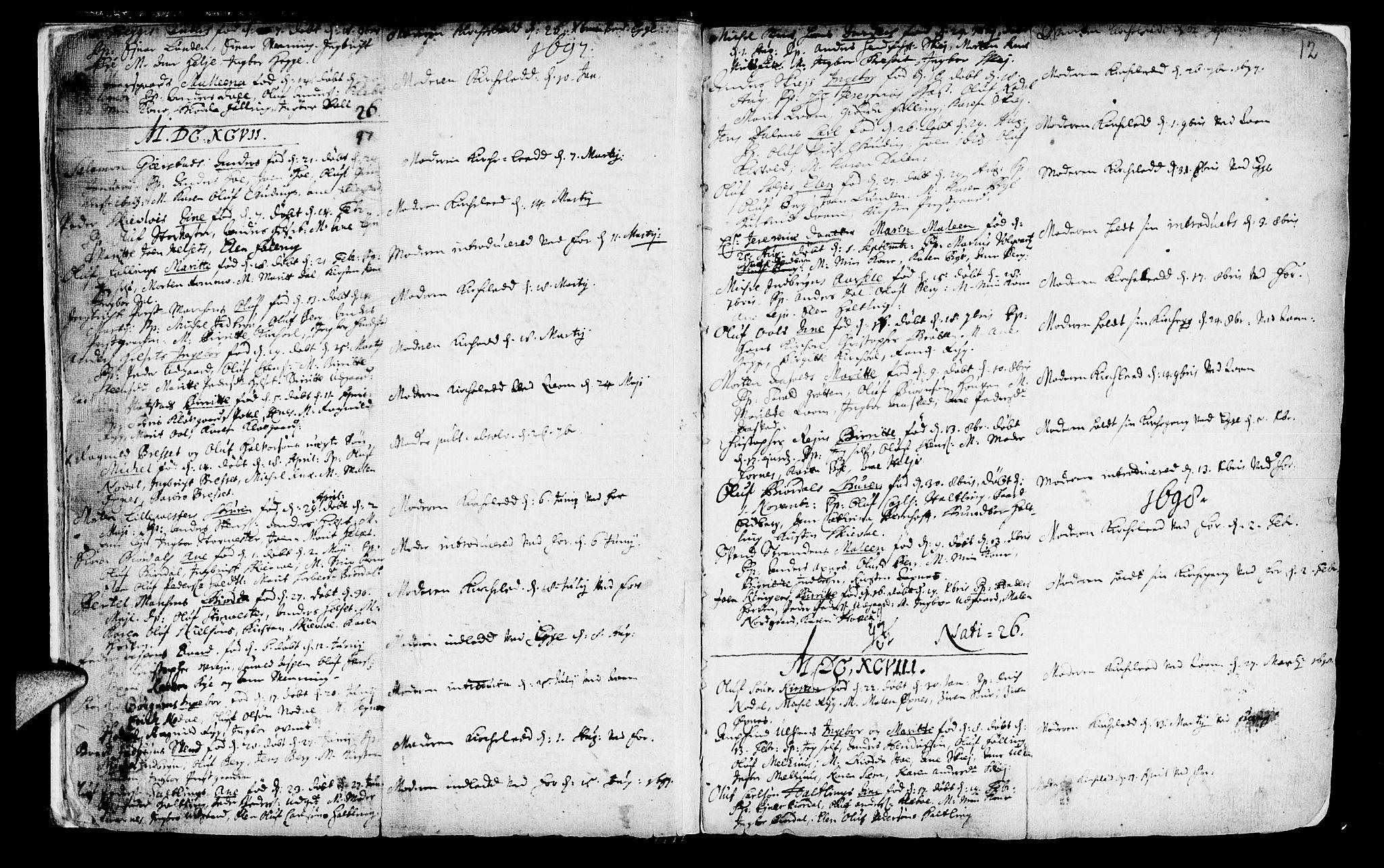 SAT, Ministerialprotokoller, klokkerbøker og fødselsregistre - Nord-Trøndelag, 746/L0439: Ministerialbok nr. 746A01, 1688-1759, s. 12