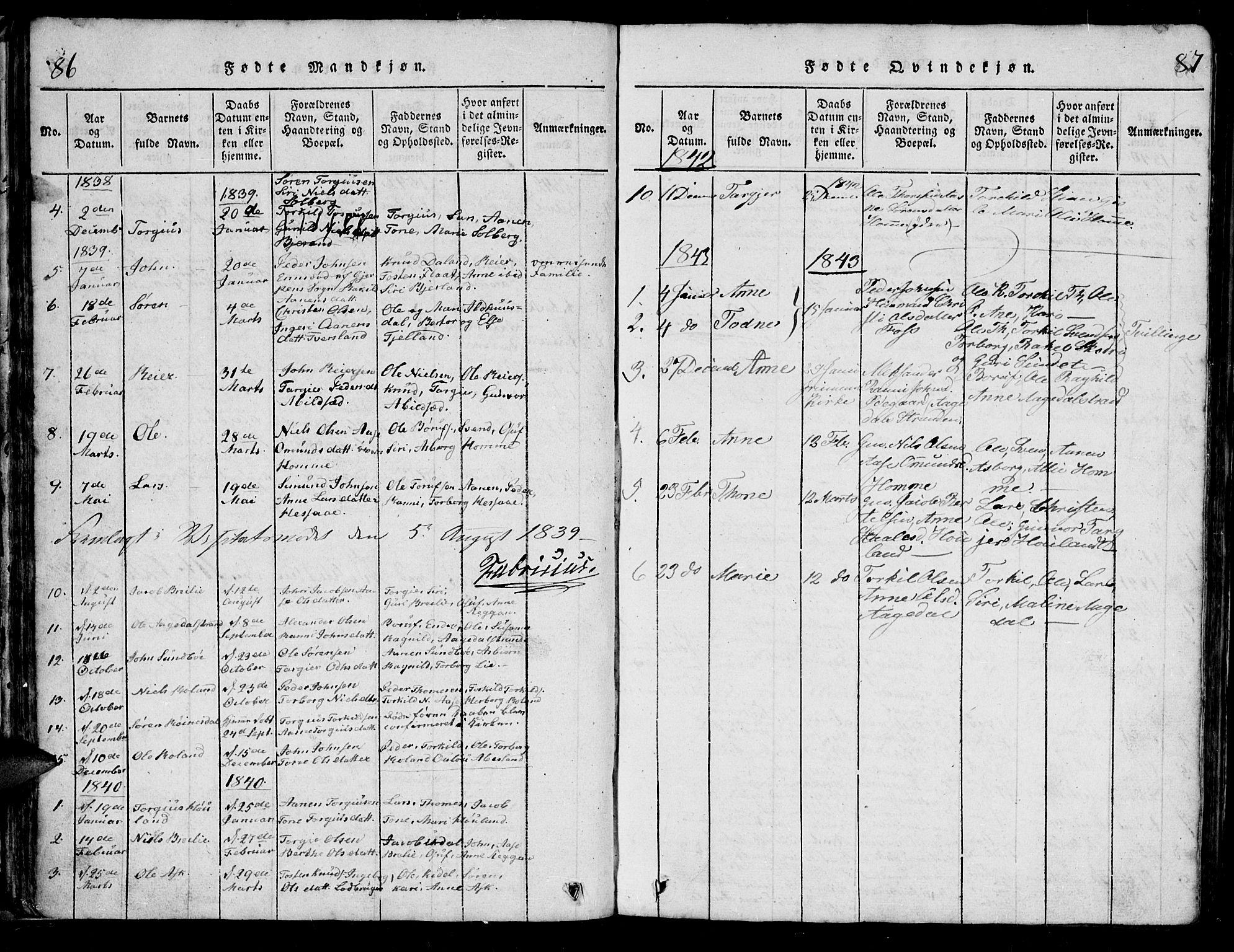 SAK, Bjelland sokneprestkontor, F/Fb/Fba/L0003: Klokkerbok nr. B 3, 1816-1870, s. 86-87