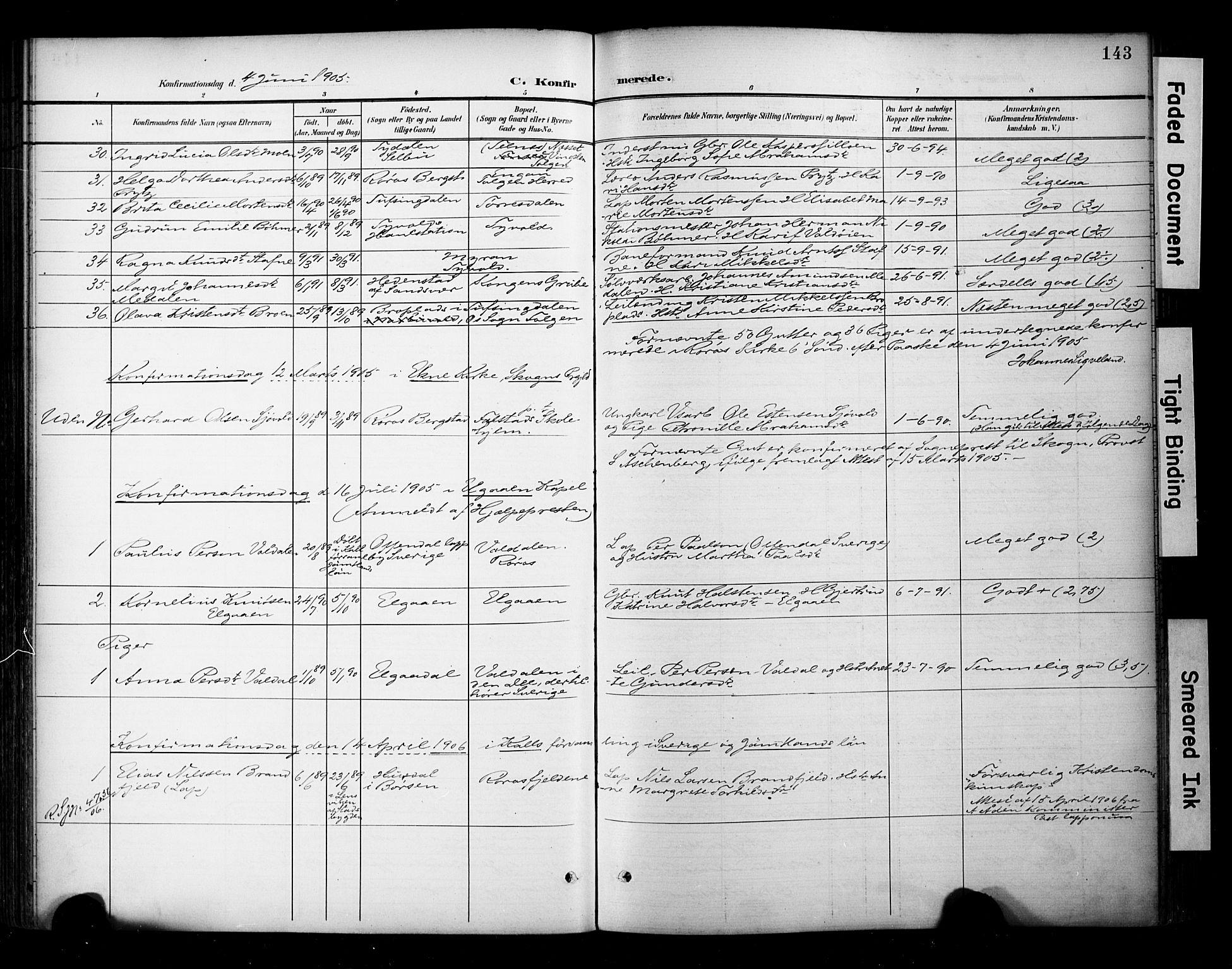 SAT, Ministerialprotokoller, klokkerbøker og fødselsregistre - Sør-Trøndelag, 681/L0936: Ministerialbok nr. 681A14, 1899-1908, s. 143