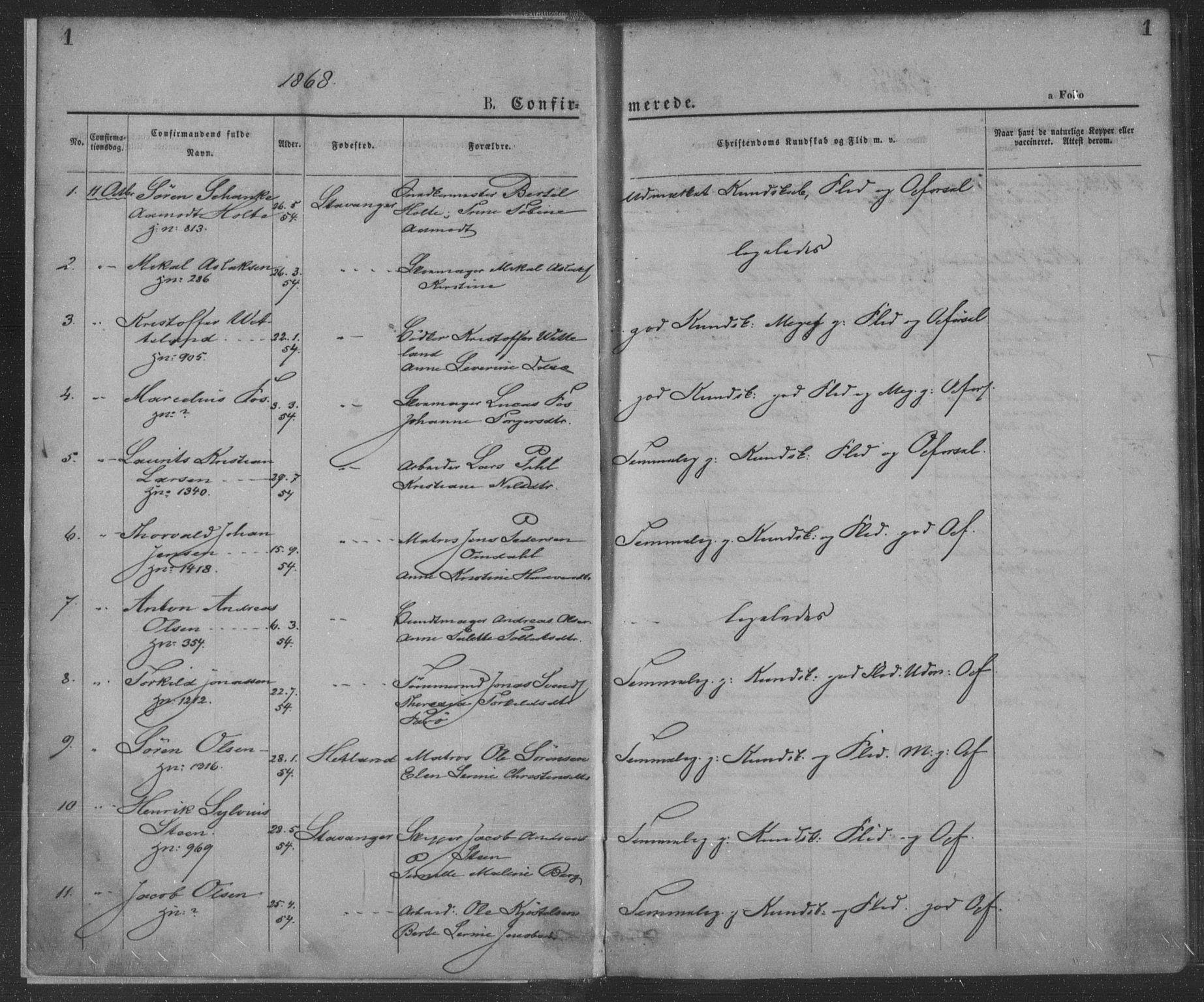 SAST, St. Petri sokneprestkontor, 30/30BA/L0009: Ministerialbok nr. A 9, 1868-1875, s. 1