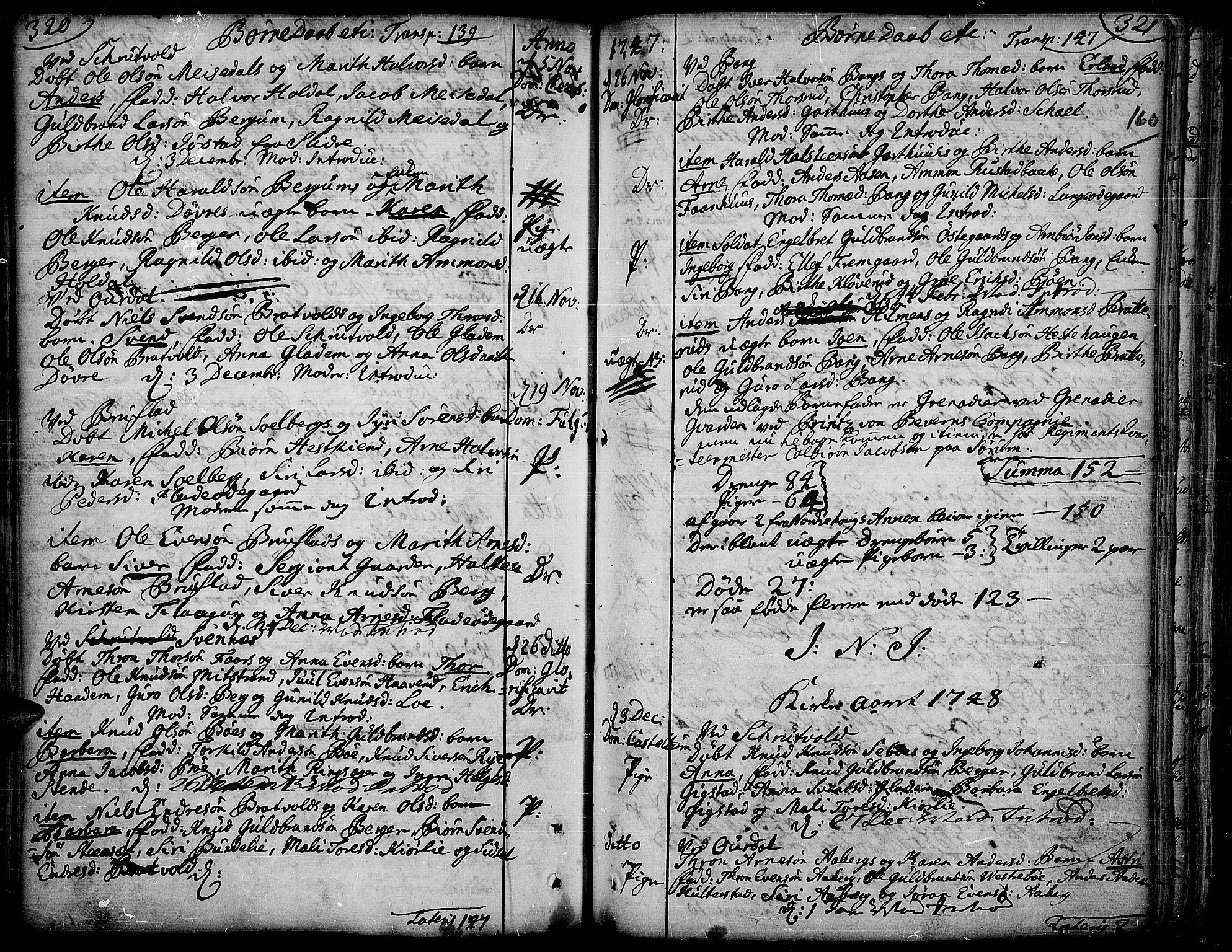 SAH, Aurdal prestekontor, Ministerialbok nr. 4, 1730-1762, s. 320-321