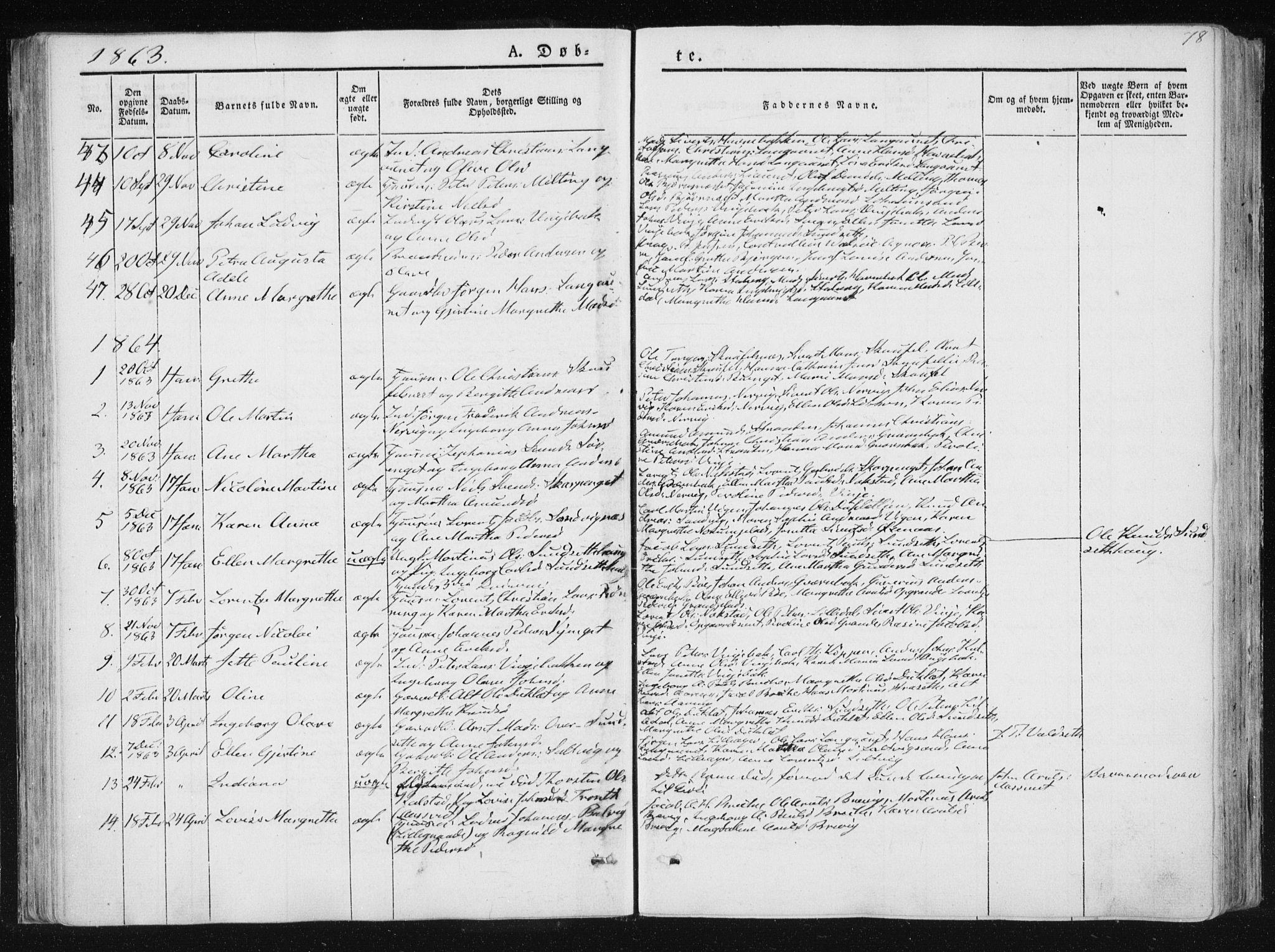 SAT, Ministerialprotokoller, klokkerbøker og fødselsregistre - Nord-Trøndelag, 733/L0323: Ministerialbok nr. 733A02, 1843-1870, s. 78