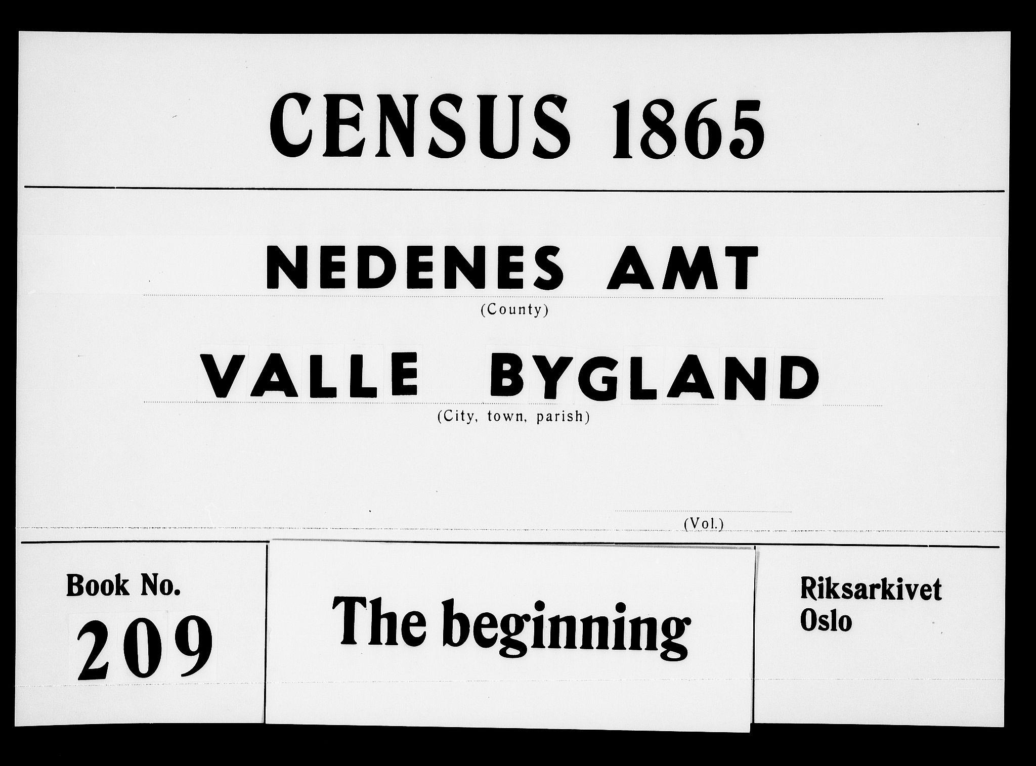 RA, Folketelling 1865 for 0940P Valle prestegjeld, 1865, s. 1