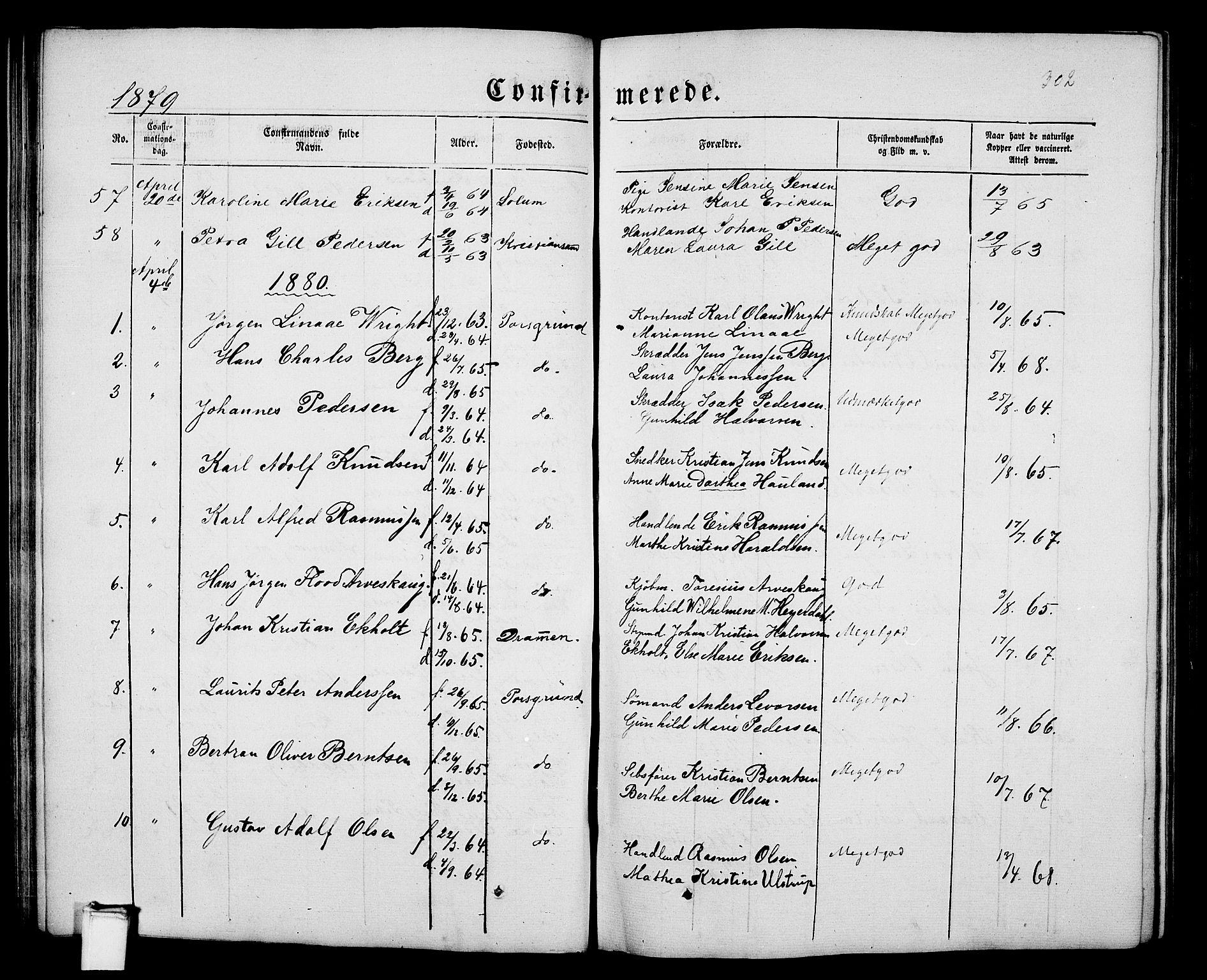 SAKO, Porsgrunn kirkebøker , G/Gb/L0004: Klokkerbok nr. II 4, 1853-1882, s. 302