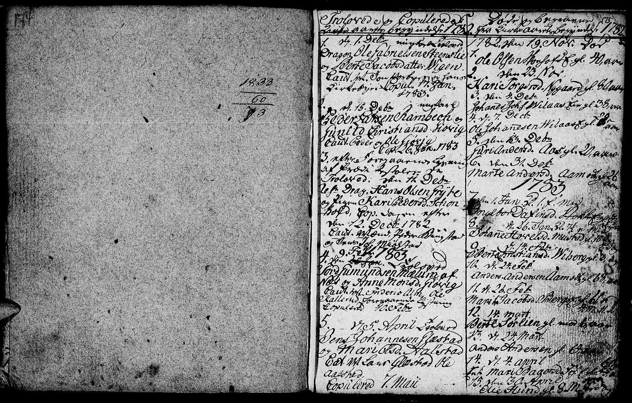 SAH, Vardal prestekontor, H/Ha/Hab/L0001: Klokkerbok nr. 1, 1771-1790, s. 174-175