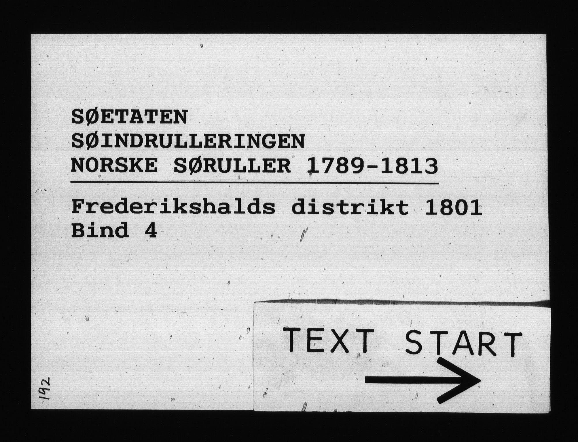 RA, Sjøetaten, F/L0193: Fredrikshalds distrikt, bind 4, 1801