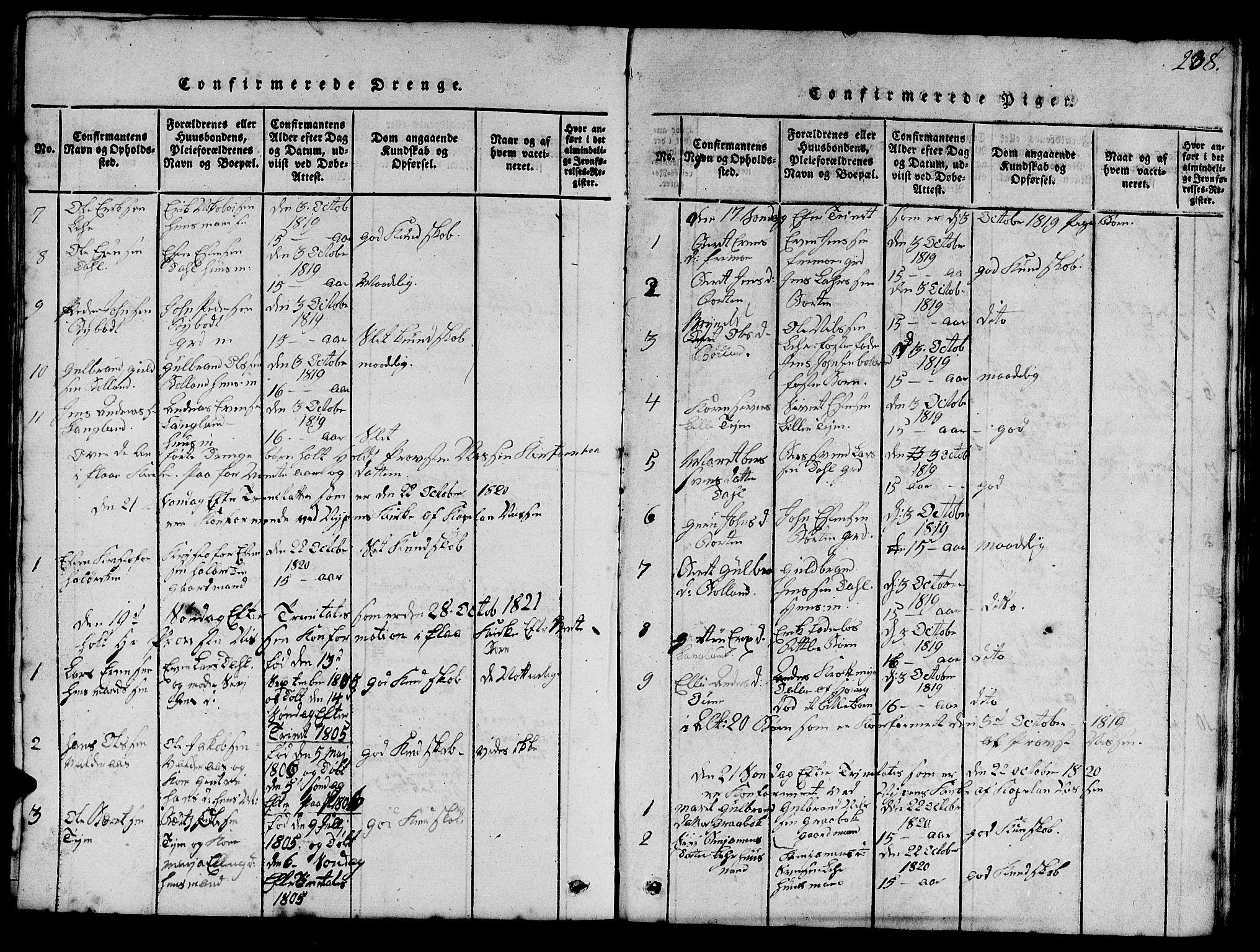 SAT, Ministerialprotokoller, klokkerbøker og fødselsregistre - Sør-Trøndelag, 693/L1121: Klokkerbok nr. 693C02, 1816-1869, s. 238