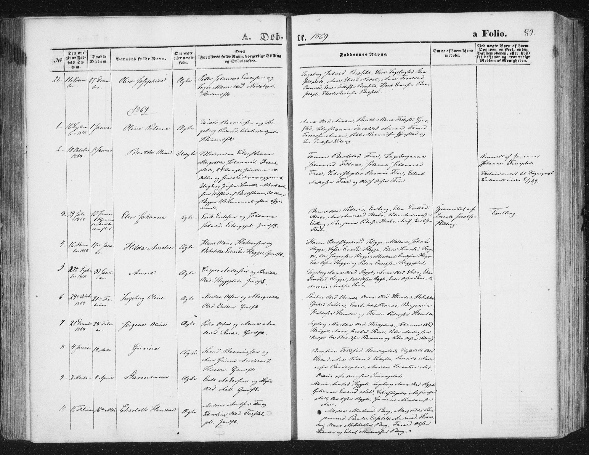SAT, Ministerialprotokoller, klokkerbøker og fødselsregistre - Nord-Trøndelag, 746/L0447: Ministerialbok nr. 746A06, 1860-1877, s. 89