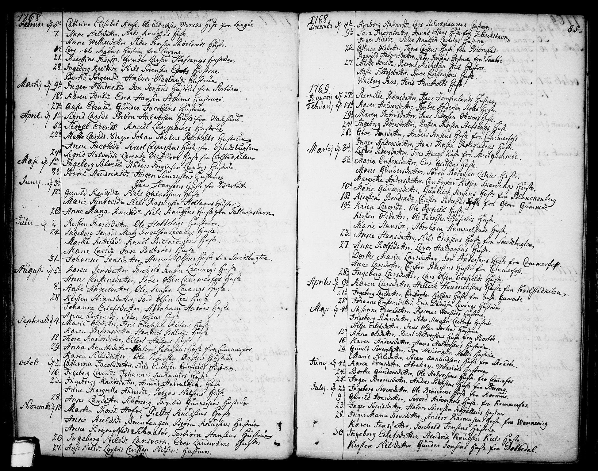 SAKO, Sannidal kirkebøker, F/Fa/L0002: Ministerialbok nr. 2, 1767-1802, s. 85
