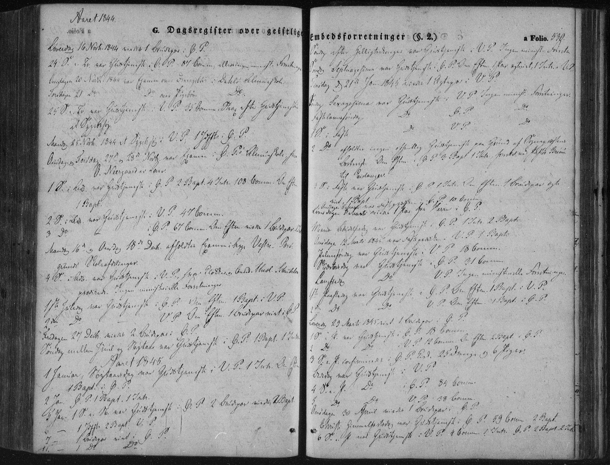 SAKO, Porsgrunn kirkebøker , F/Fa/L0006: Ministerialbok nr. 6, 1841-1857, s. 530