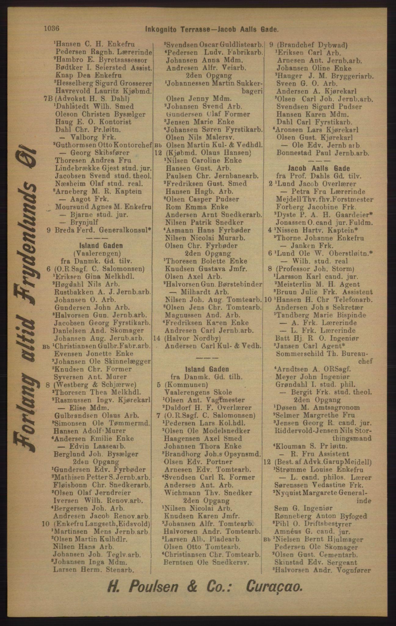 RA, Kristiania adressebok (publikasjon)*, 1905, s. 1036