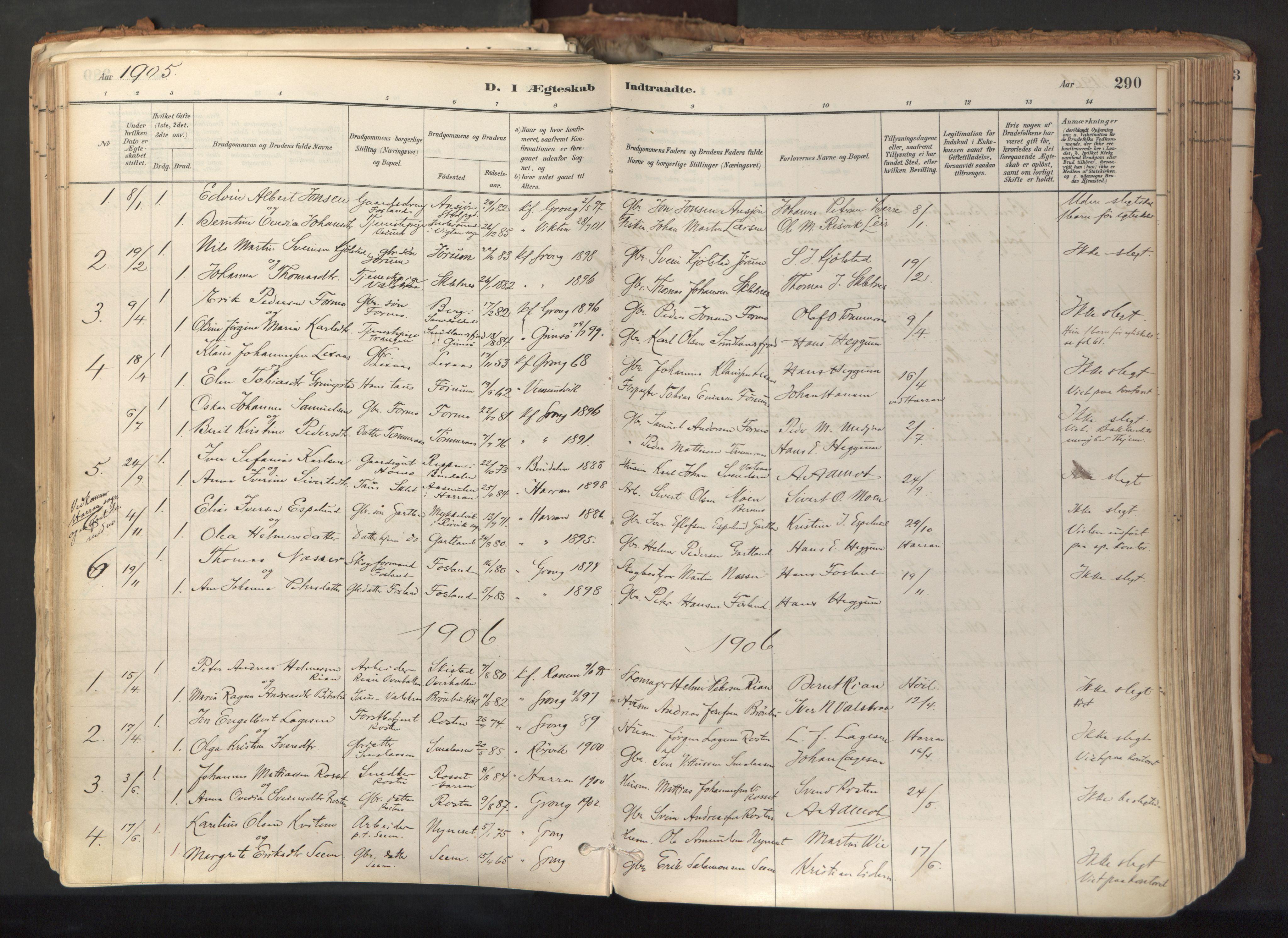 SAT, Ministerialprotokoller, klokkerbøker og fødselsregistre - Nord-Trøndelag, 758/L0519: Ministerialbok nr. 758A04, 1880-1926, s. 290