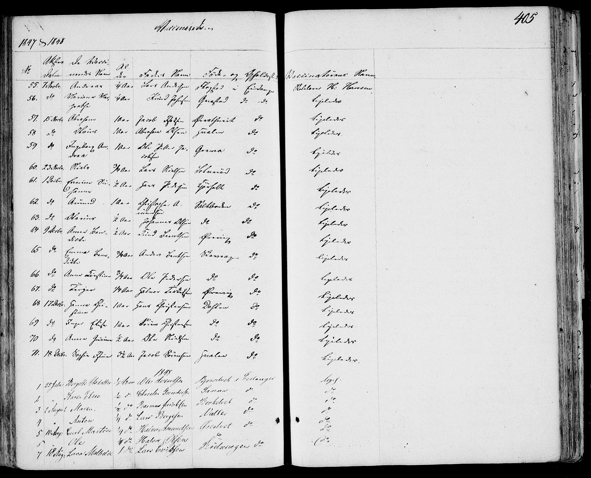 SAKO, Eidanger kirkebøker, F/Fa/L0008: Ministerialbok nr. 8, 1831-1858, s. 405