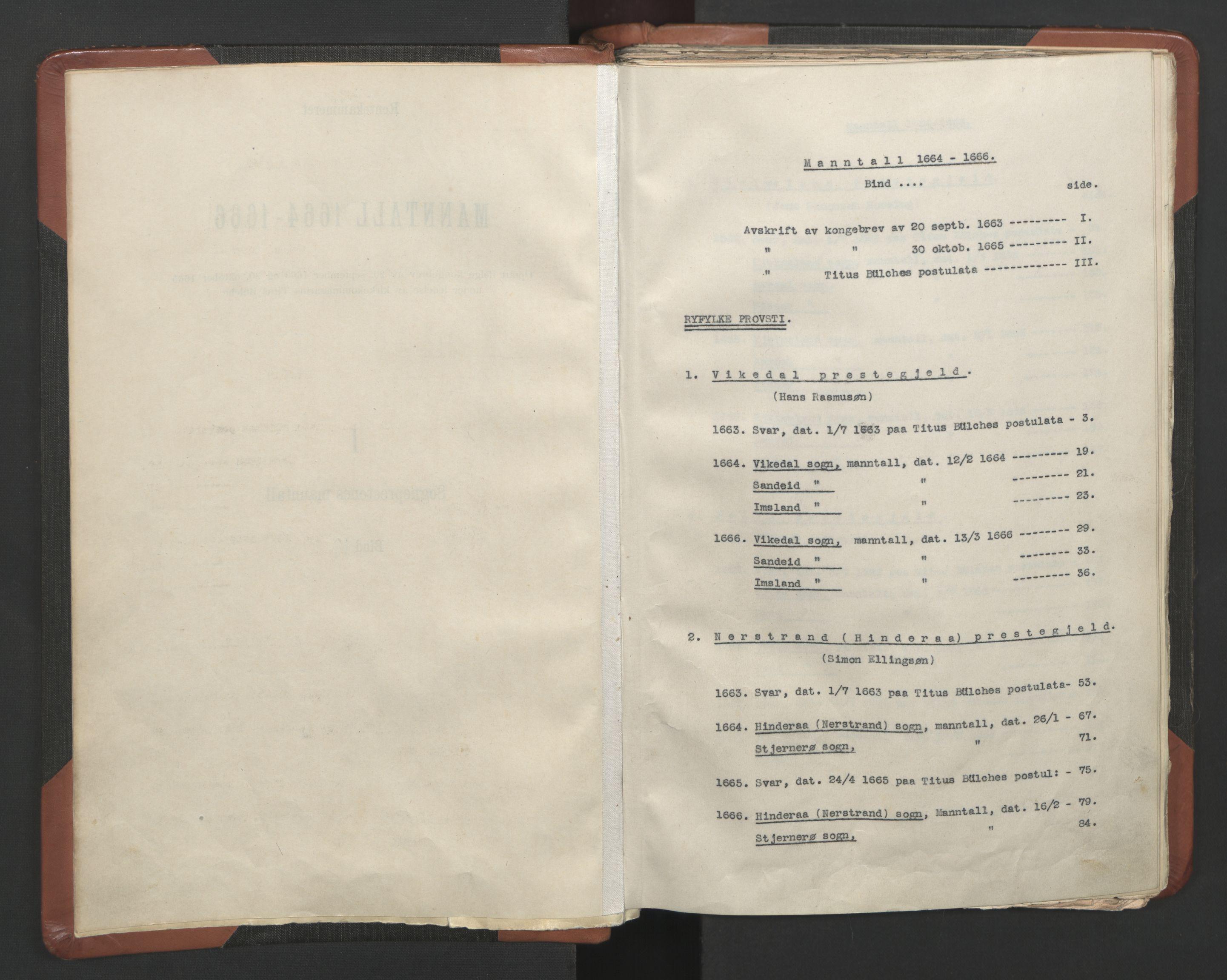 RA, Sogneprestenes manntall 1664-1666, nr. 19: Ryfylke prosti, 1664-1666