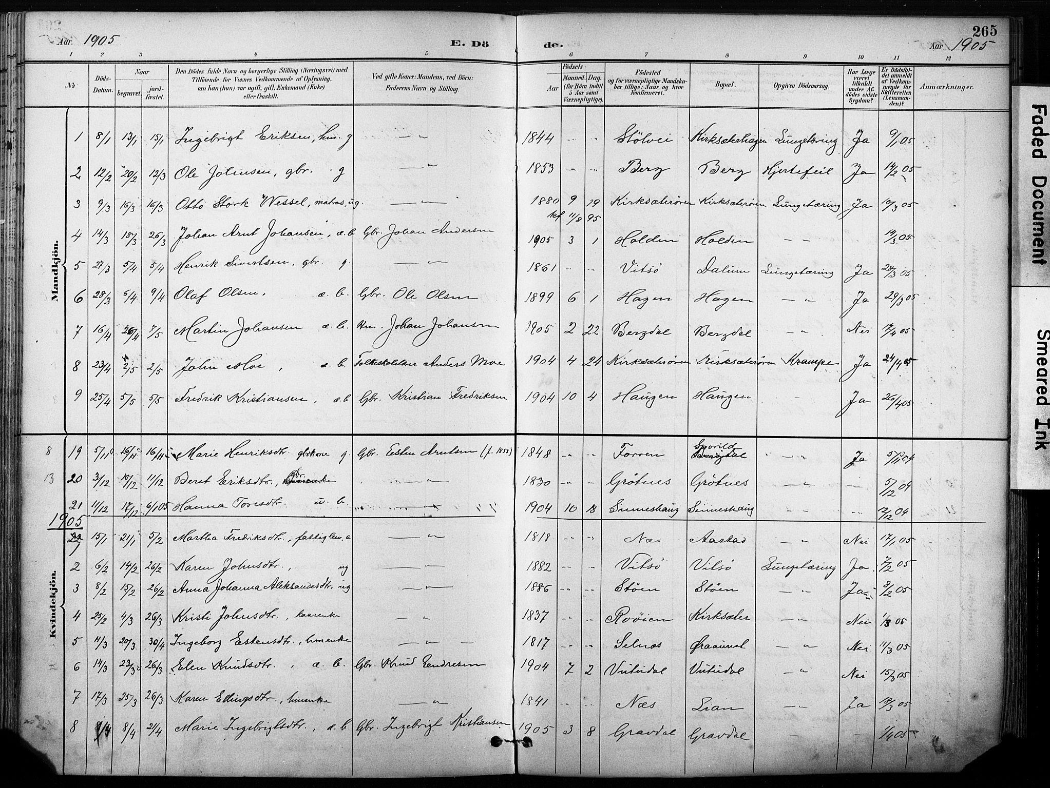 SAT, Ministerialprotokoller, klokkerbøker og fødselsregistre - Sør-Trøndelag, 630/L0497: Ministerialbok nr. 630A10, 1896-1910, s. 265