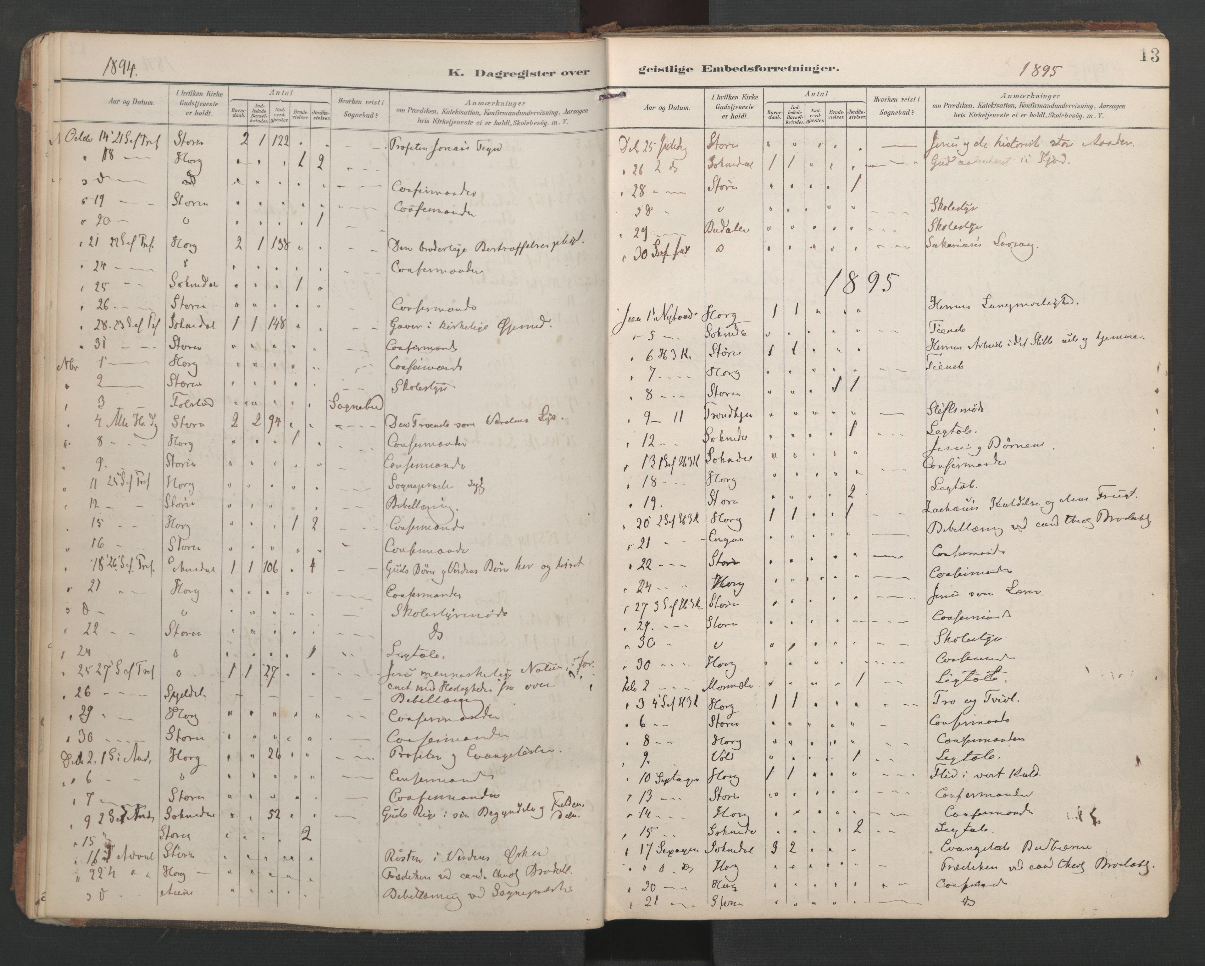 SAT, Ministerialprotokoller, klokkerbøker og fødselsregistre - Sør-Trøndelag, 687/L1005: Dagregister nr. 687A11, 1891-1912, s. 13