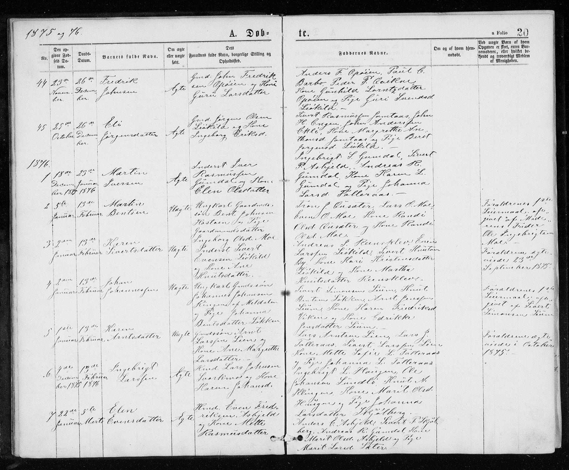 SAT, Ministerialprotokoller, klokkerbøker og fødselsregistre - Sør-Trøndelag, 671/L0843: Klokkerbok nr. 671C02, 1873-1892, s. 20