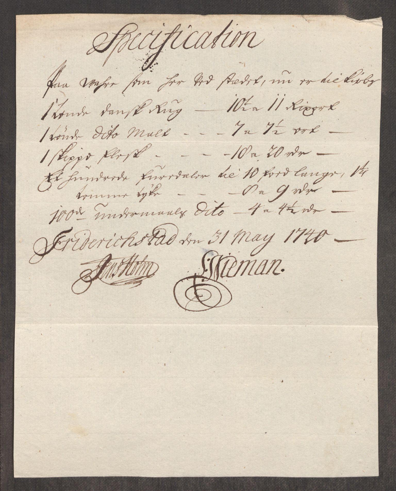 RA, Rentekammeret inntil 1814, Realistisk ordnet avdeling, Oe/L0002: [Ø1]: Priskuranter, 1740-1744, s. 20