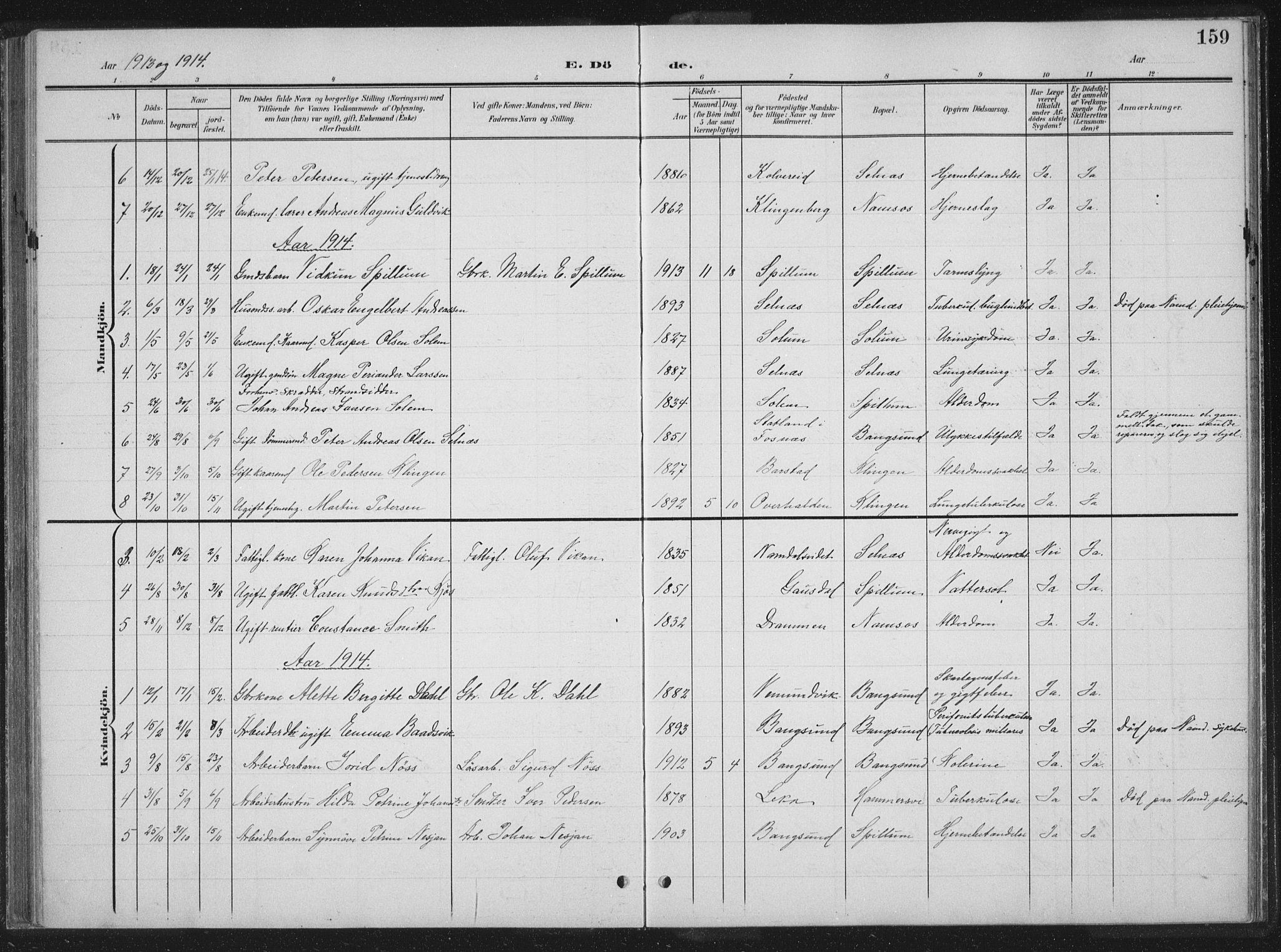 SAT, Ministerialprotokoller, klokkerbøker og fødselsregistre - Nord-Trøndelag, 770/L0591: Klokkerbok nr. 770C02, 1902-1940, s. 159