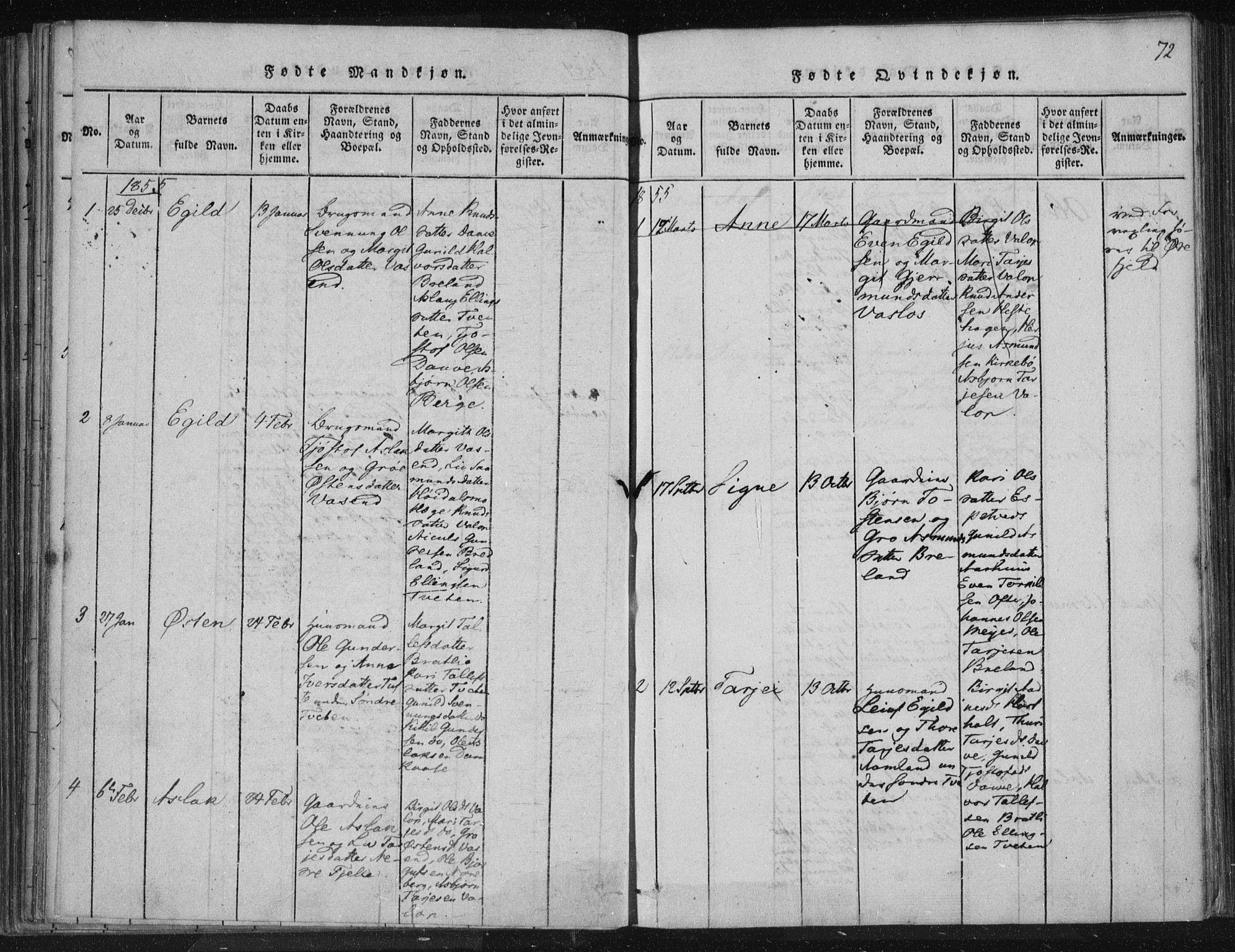 SAKO, Lårdal kirkebøker, F/Fc/L0001: Ministerialbok nr. III 1, 1815-1860, s. 72