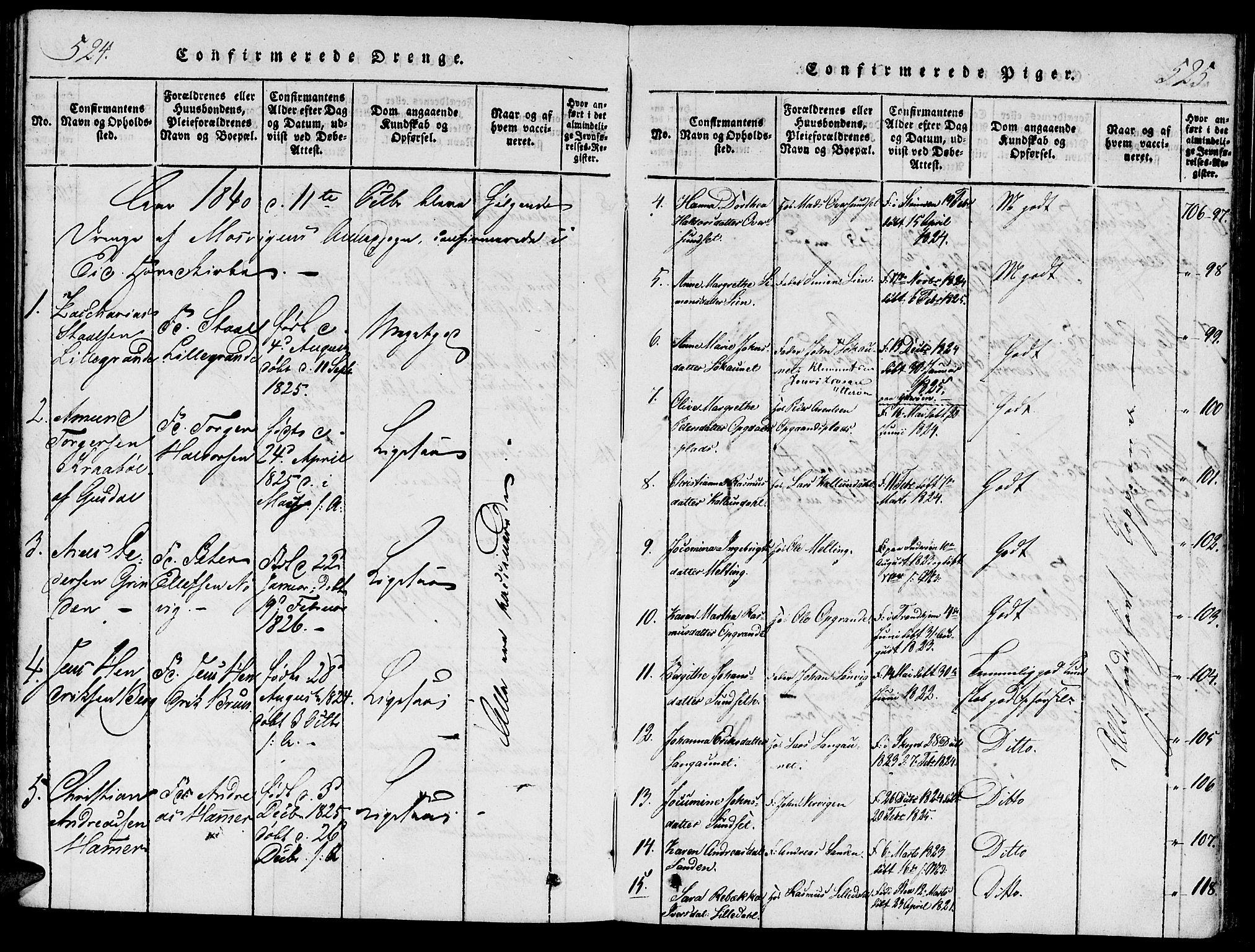 SAT, Ministerialprotokoller, klokkerbøker og fødselsregistre - Nord-Trøndelag, 733/L0322: Ministerialbok nr. 733A01, 1817-1842, s. 524-525